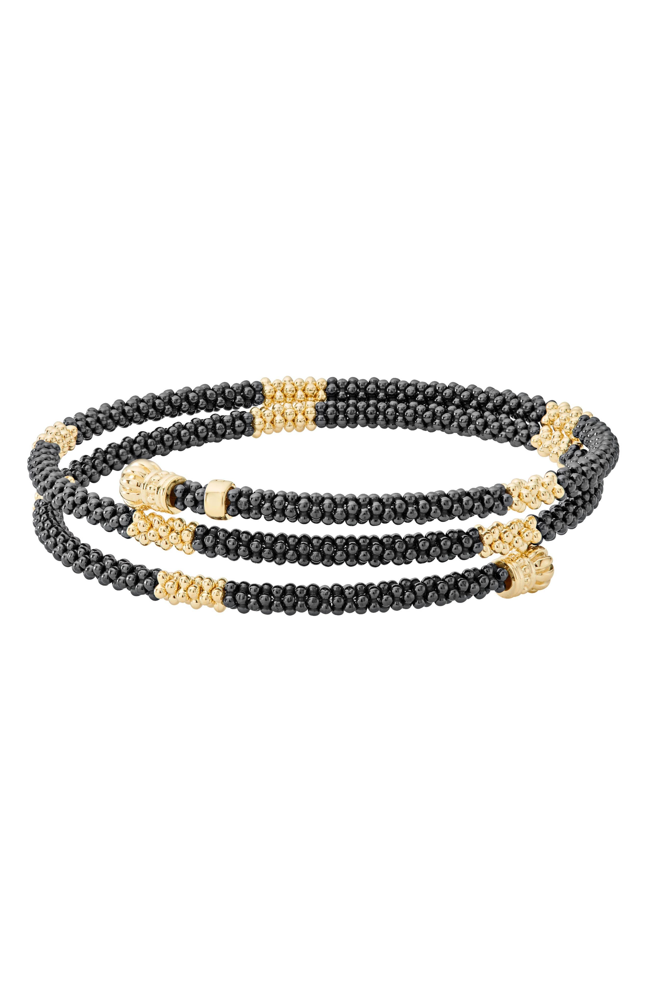 Gold & Black Caviar Coil Bracelet