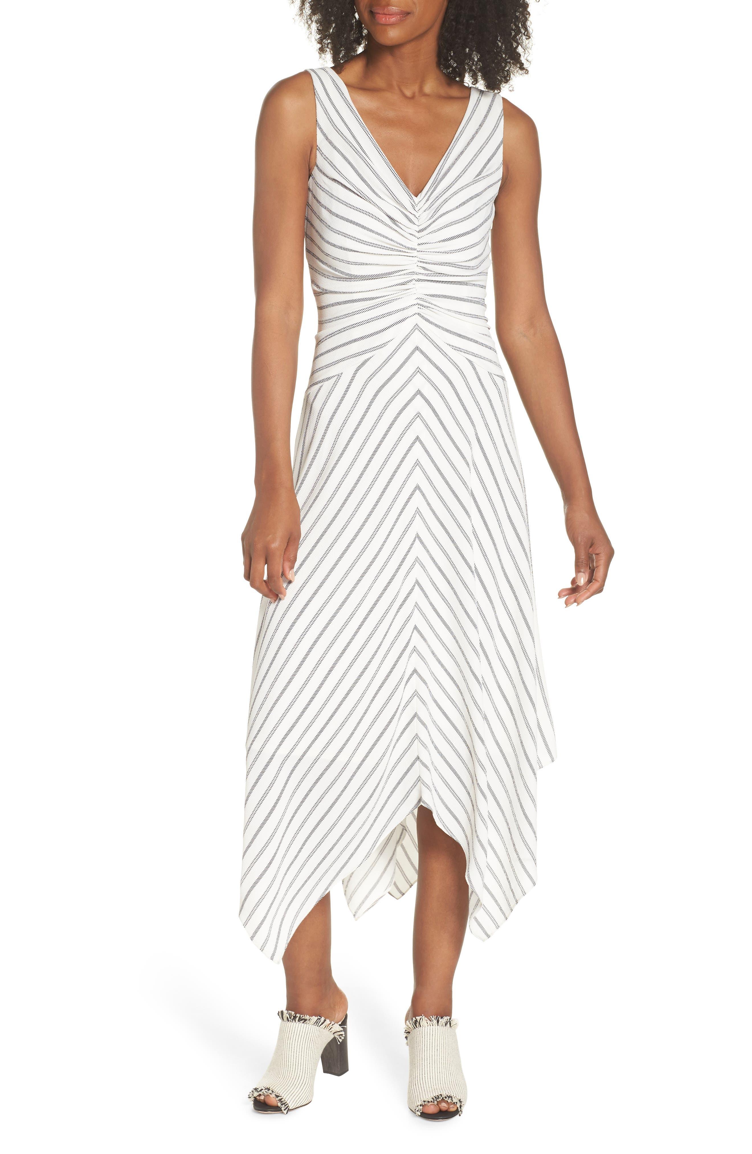 Stripe Ruched Handkerchief Hem Dress,                             Main thumbnail 1, color,                             Soft White/ Black