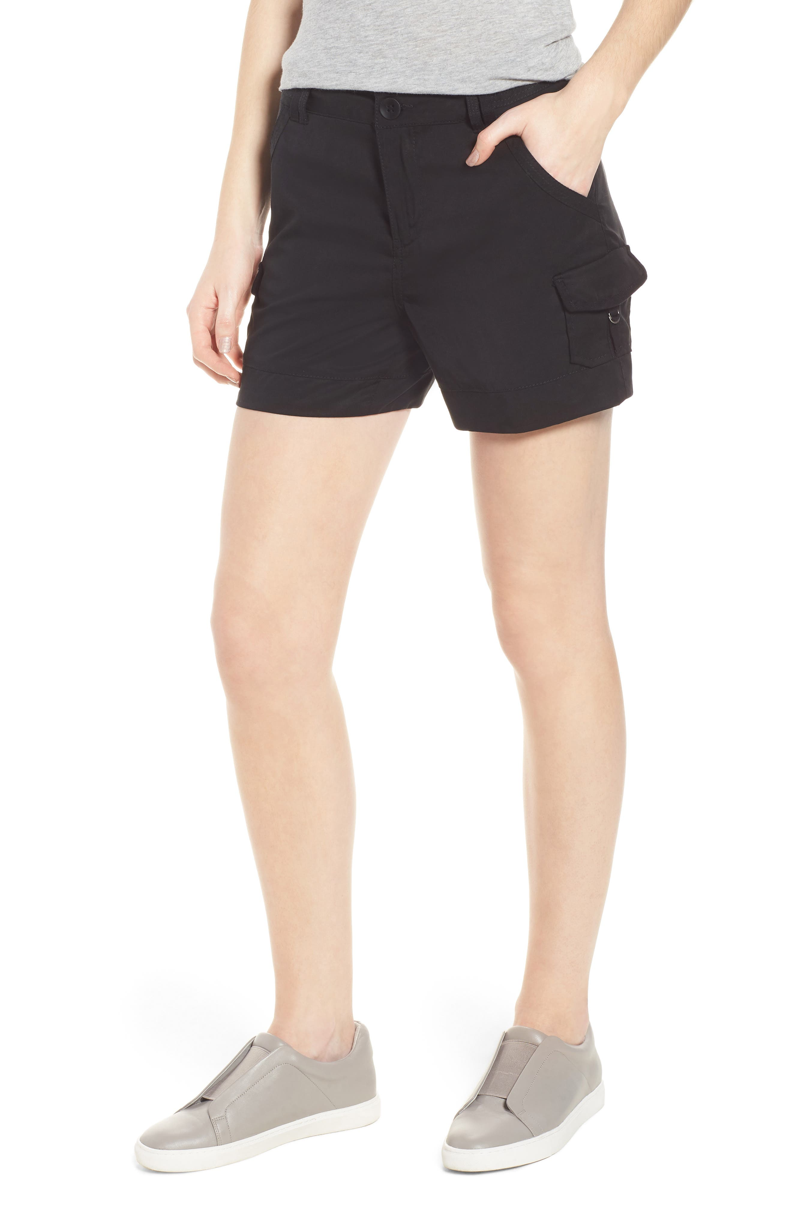 High Rise Tencel Shorts,                             Main thumbnail 1, color,                             Black