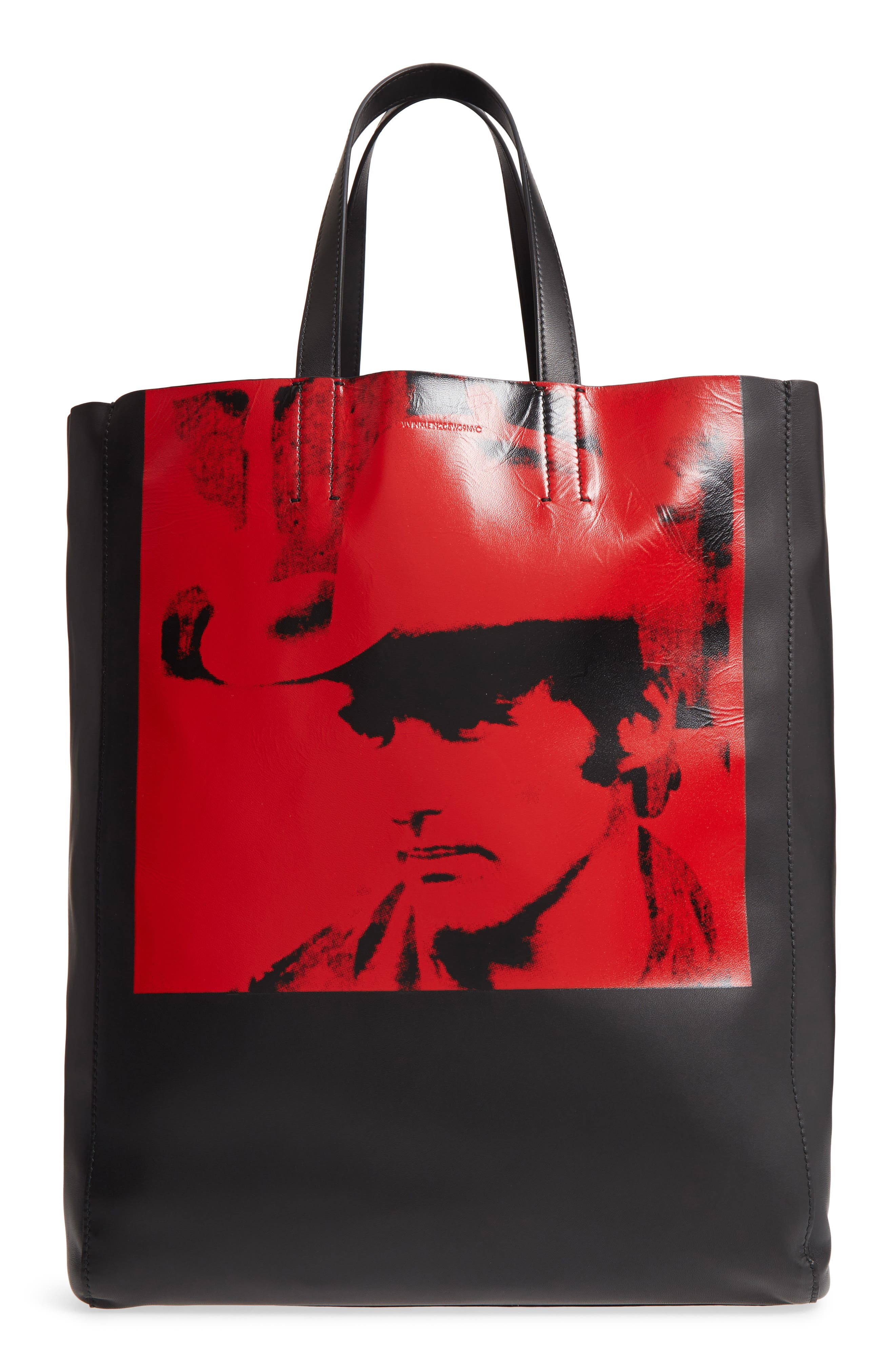 x Andy Warhol Foundation Dennis Hopper Calfskin Leather Bucket Bag,                             Main thumbnail 1, color,                             Black/ Red