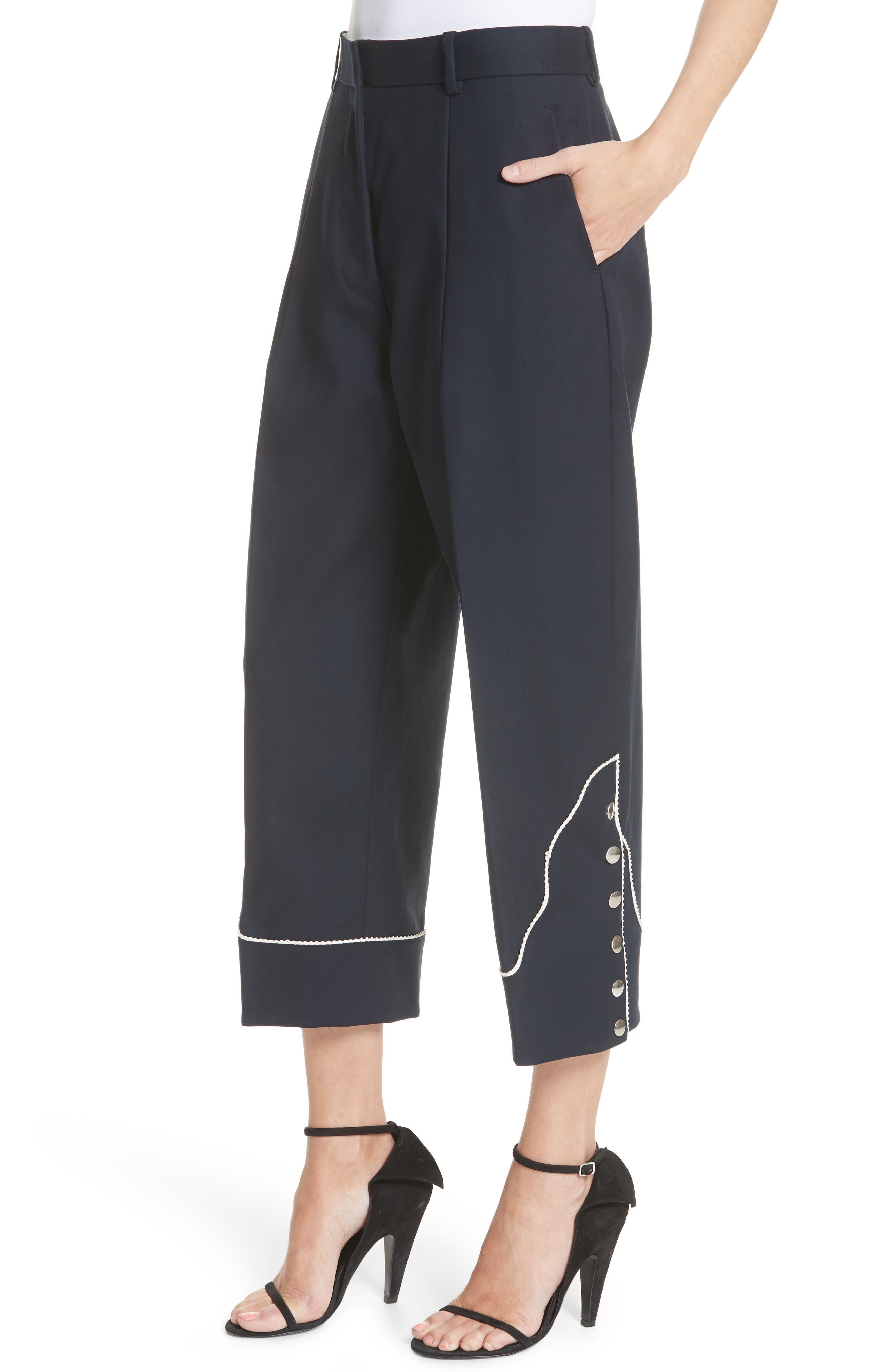 Snap Hem Wide Leg Pants,                             Alternate thumbnail 4, color,                             Navy