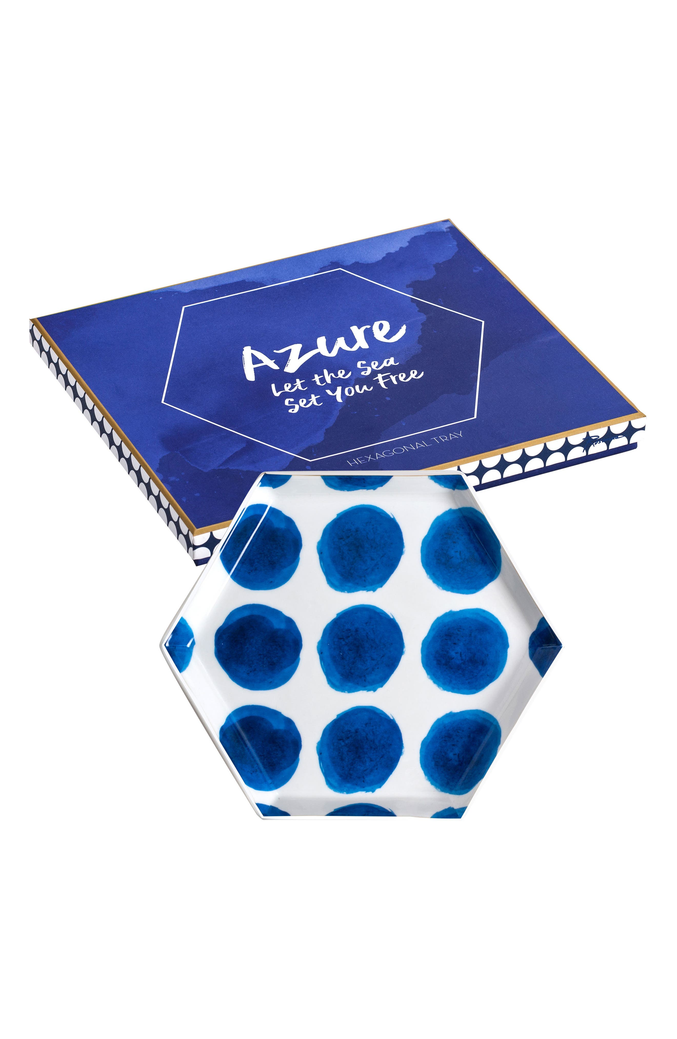 Polka Dot Hexagon Tray,                         Main,                         color, White/ Blue