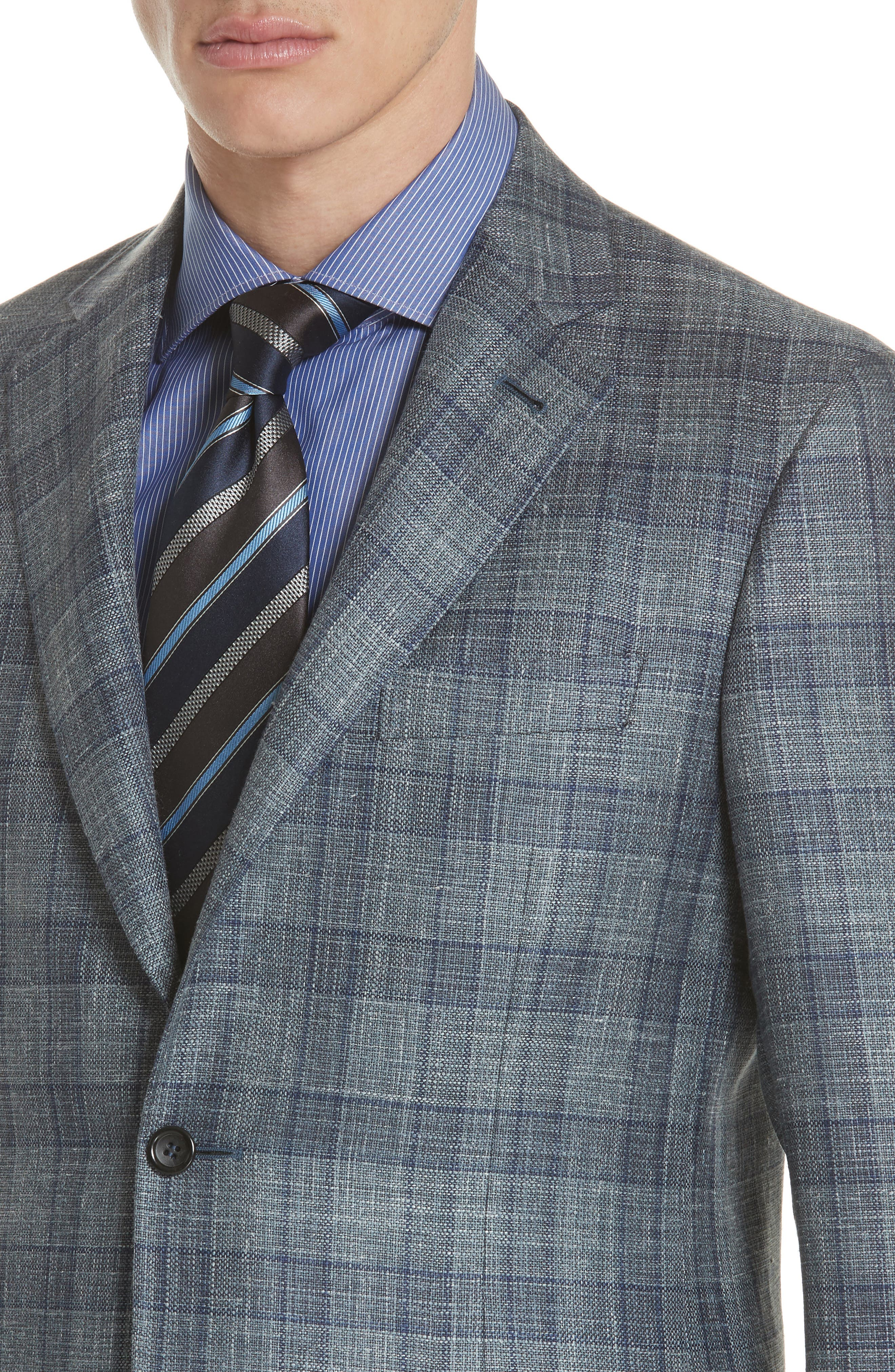 Classic Fit Wool Blend Check Sport Coat,                             Alternate thumbnail 4, color,                             Grey
