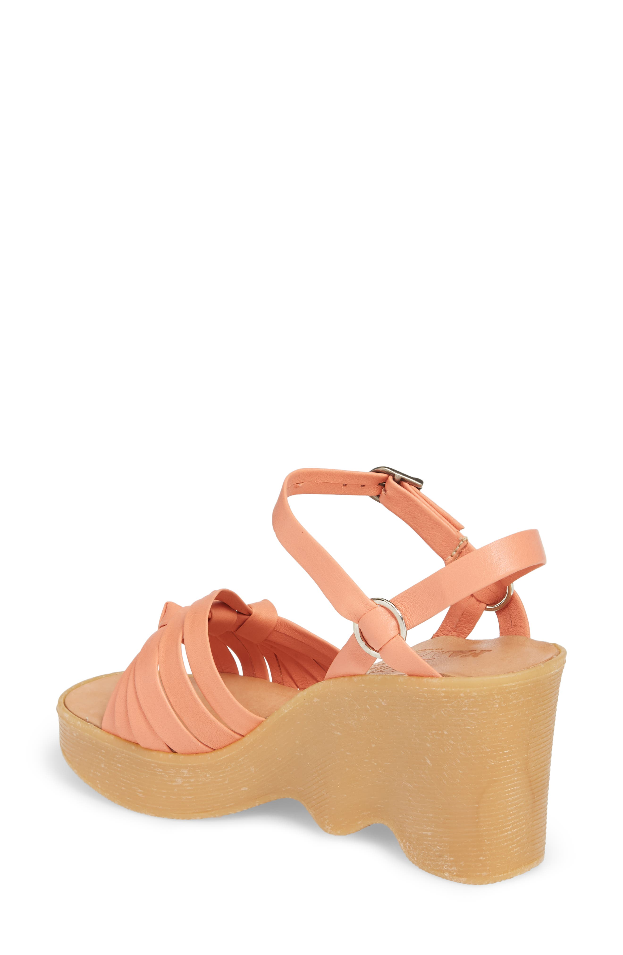 Knot So Fast Wedge Sandal,                             Alternate thumbnail 2, color,                             Salmon Leather