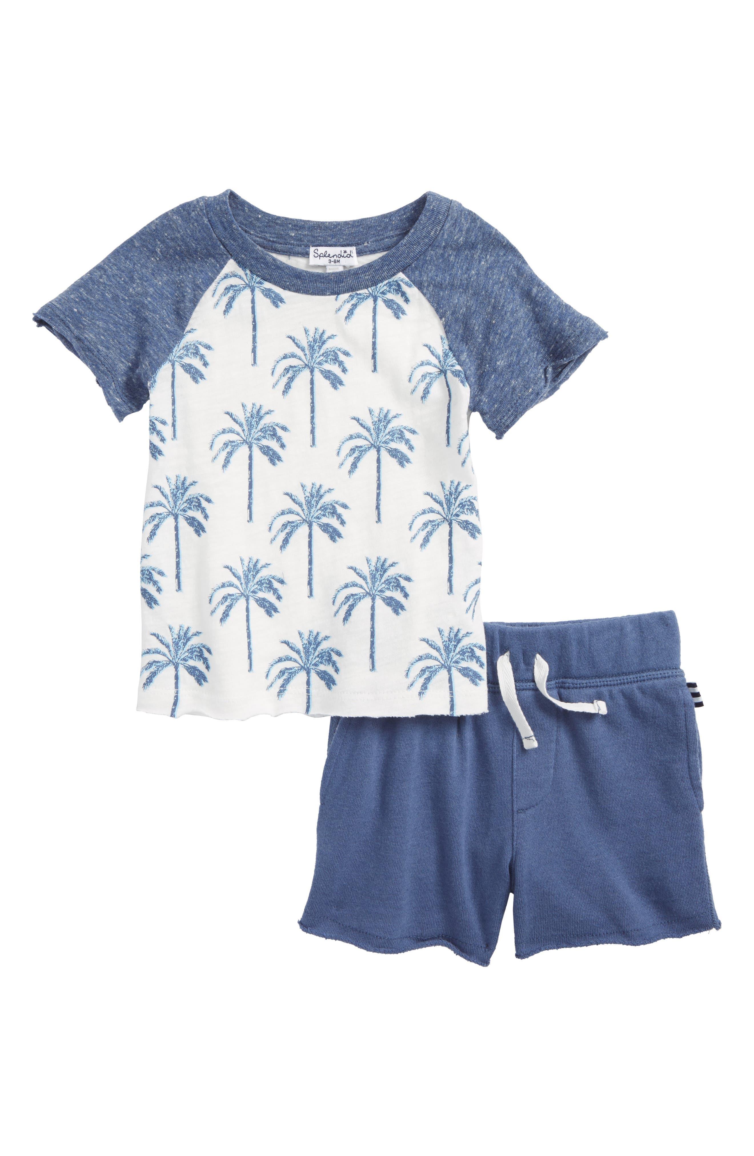 Palm Print T-Shirt & Shorts Set,                         Main,                         color, Dark Blue Heather