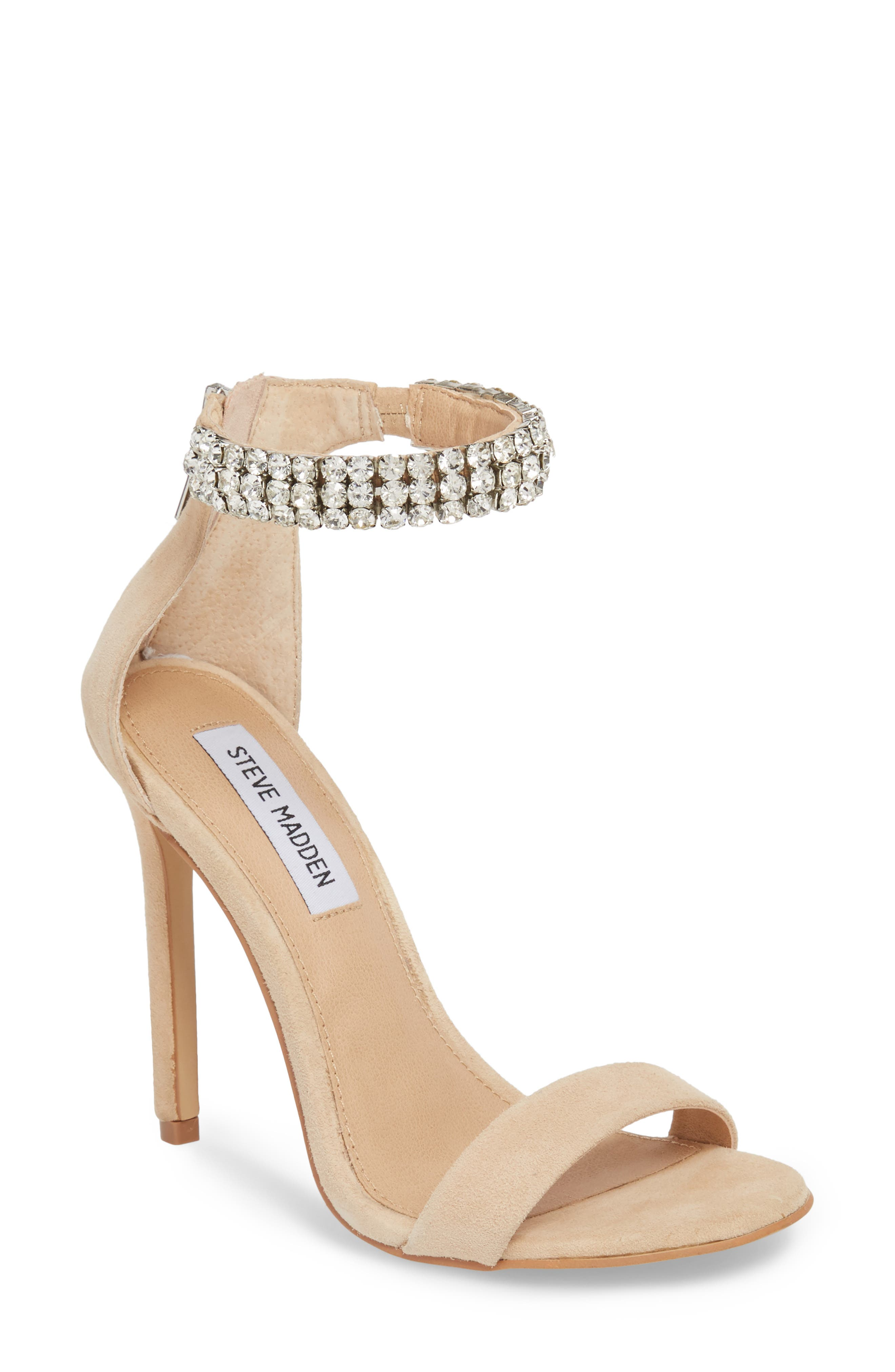 Rando Crystal Sandal,                         Main,                         color, Natural Suede