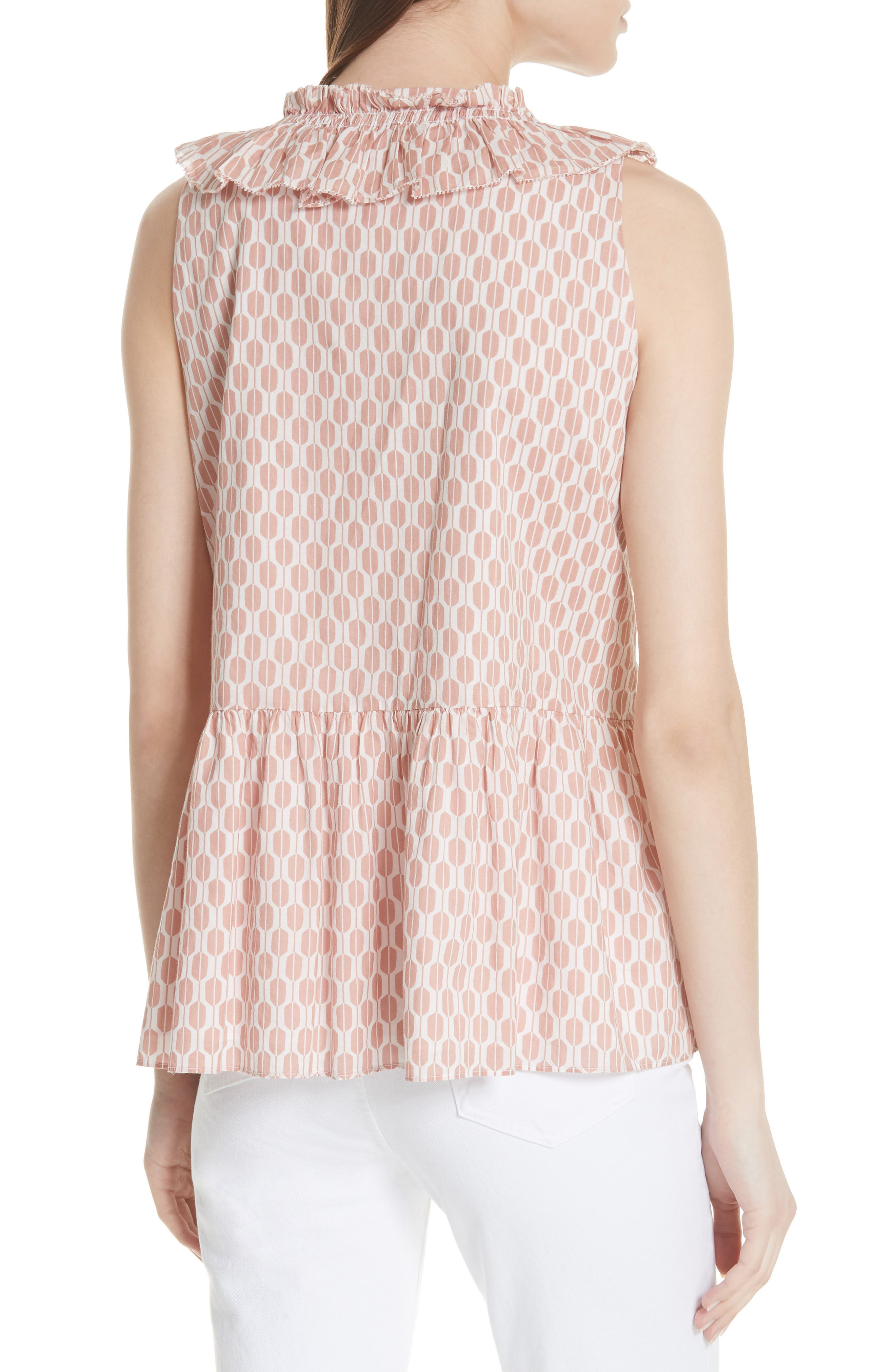 arrow stripe lace-up top,                             Alternate thumbnail 2, color,                             Fresh White/ Conch Shell