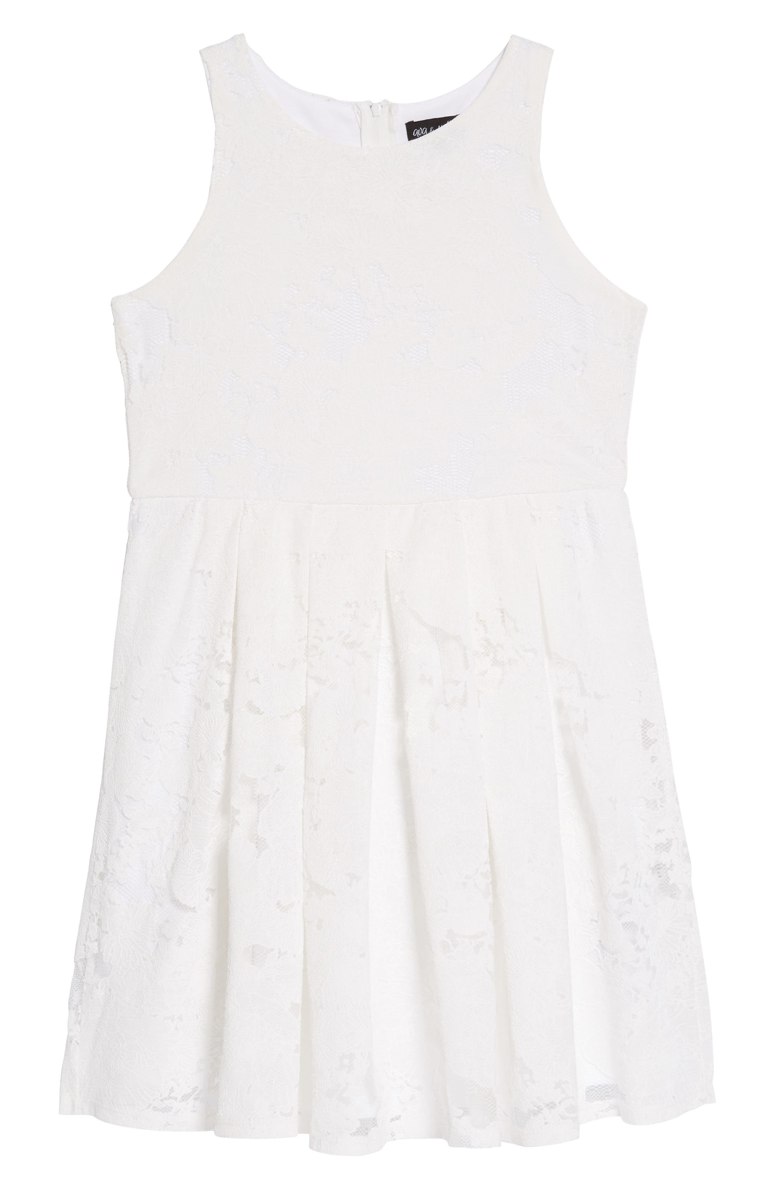 Lace Overlay Skater Dress,                         Main,                         color, White
