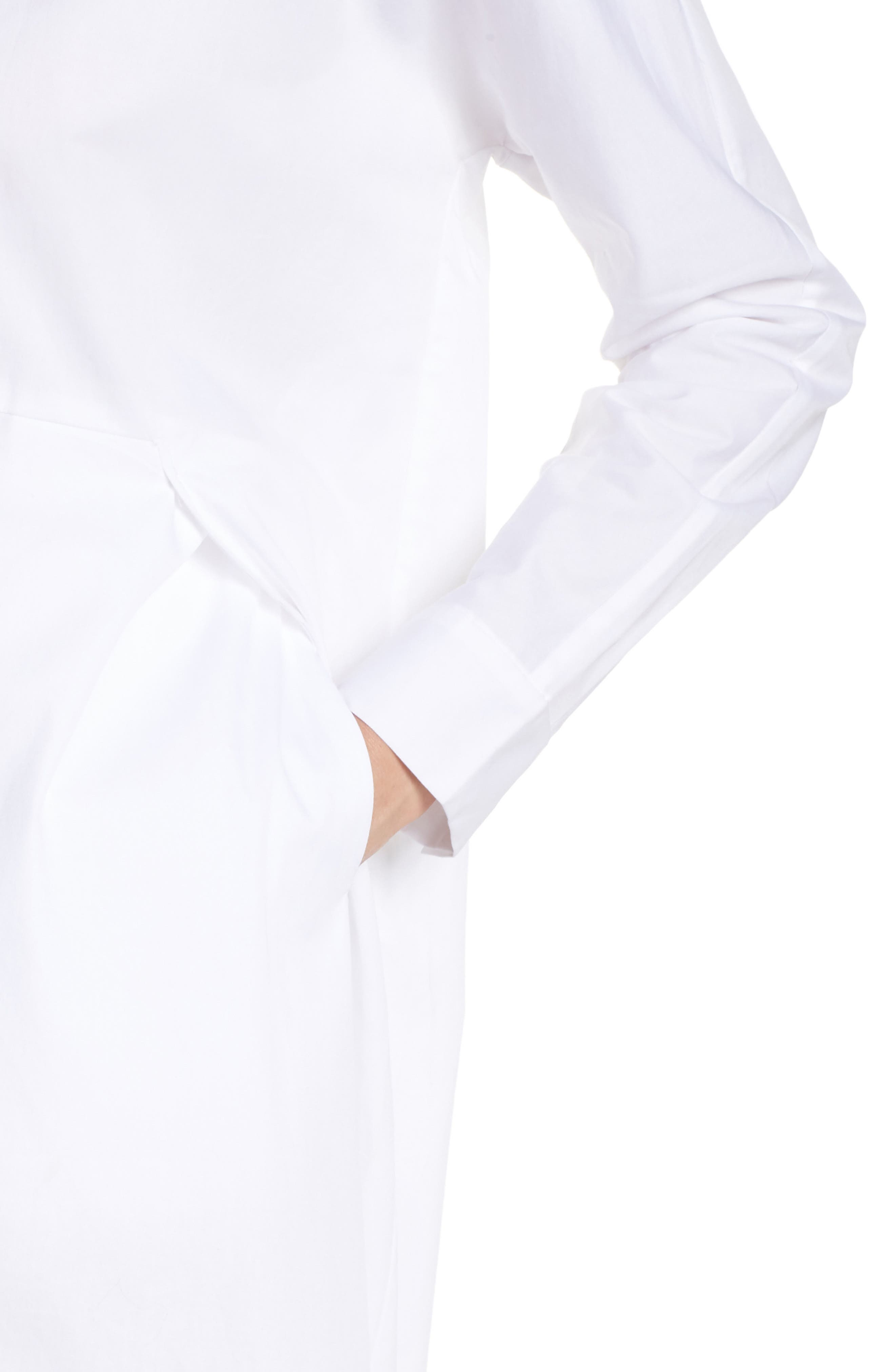 Boyfriend Shirtdress,                             Alternate thumbnail 4, color,                             White