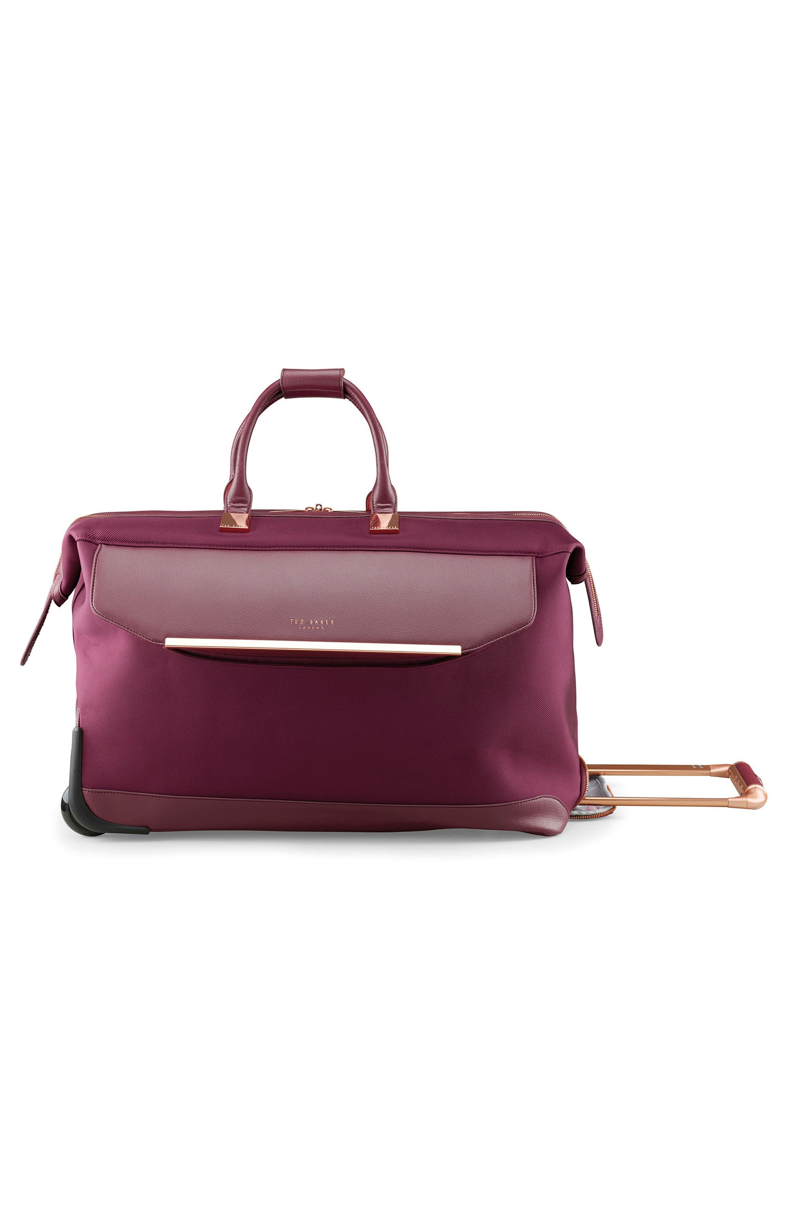Large Front Pocket Rolling Duffel Bag,                             Alternate thumbnail 4, color,                             Burgundy