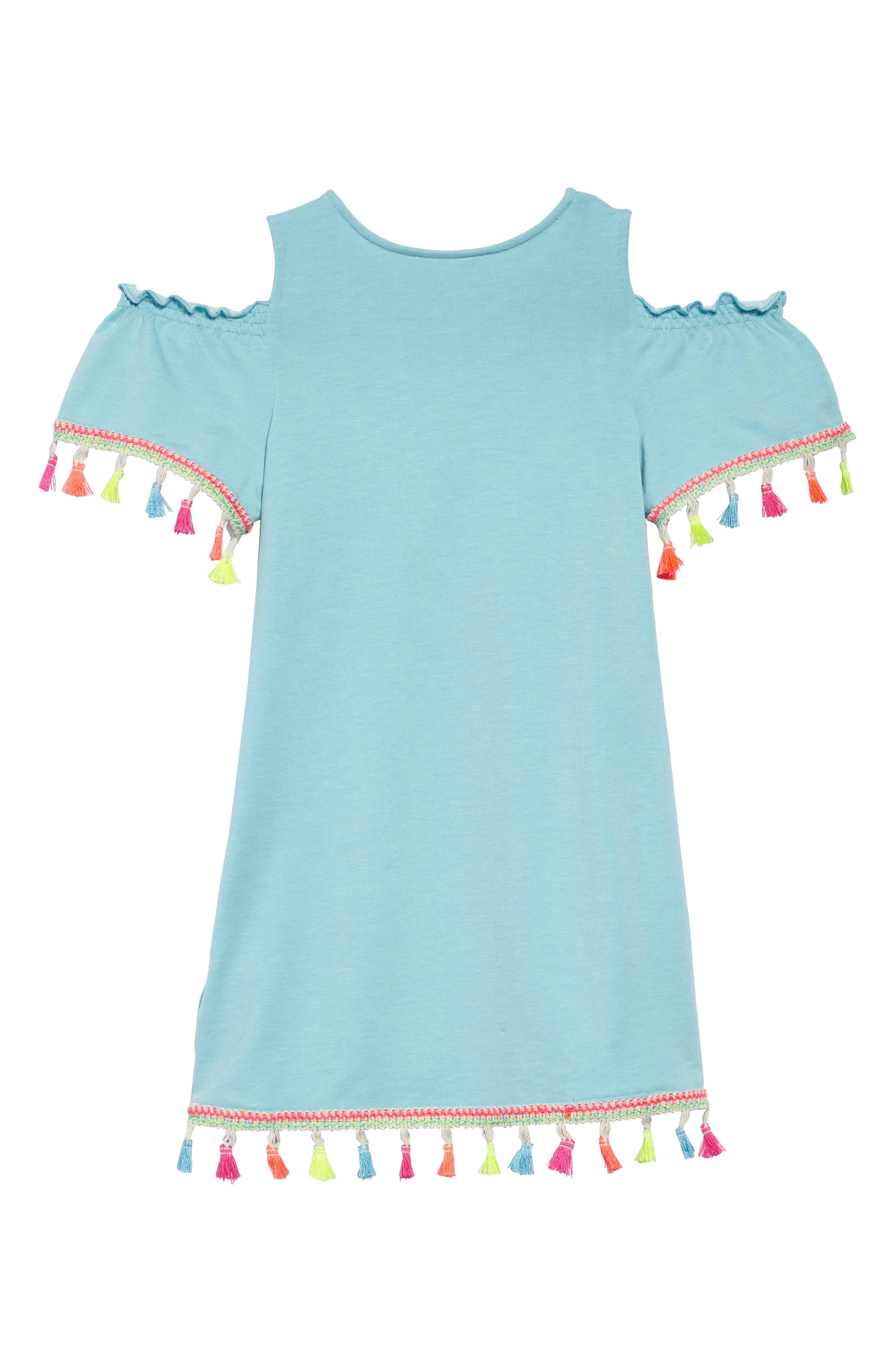 Tassel Cold Shoulder Dress,                             Alternate thumbnail 2, color,                             Blue