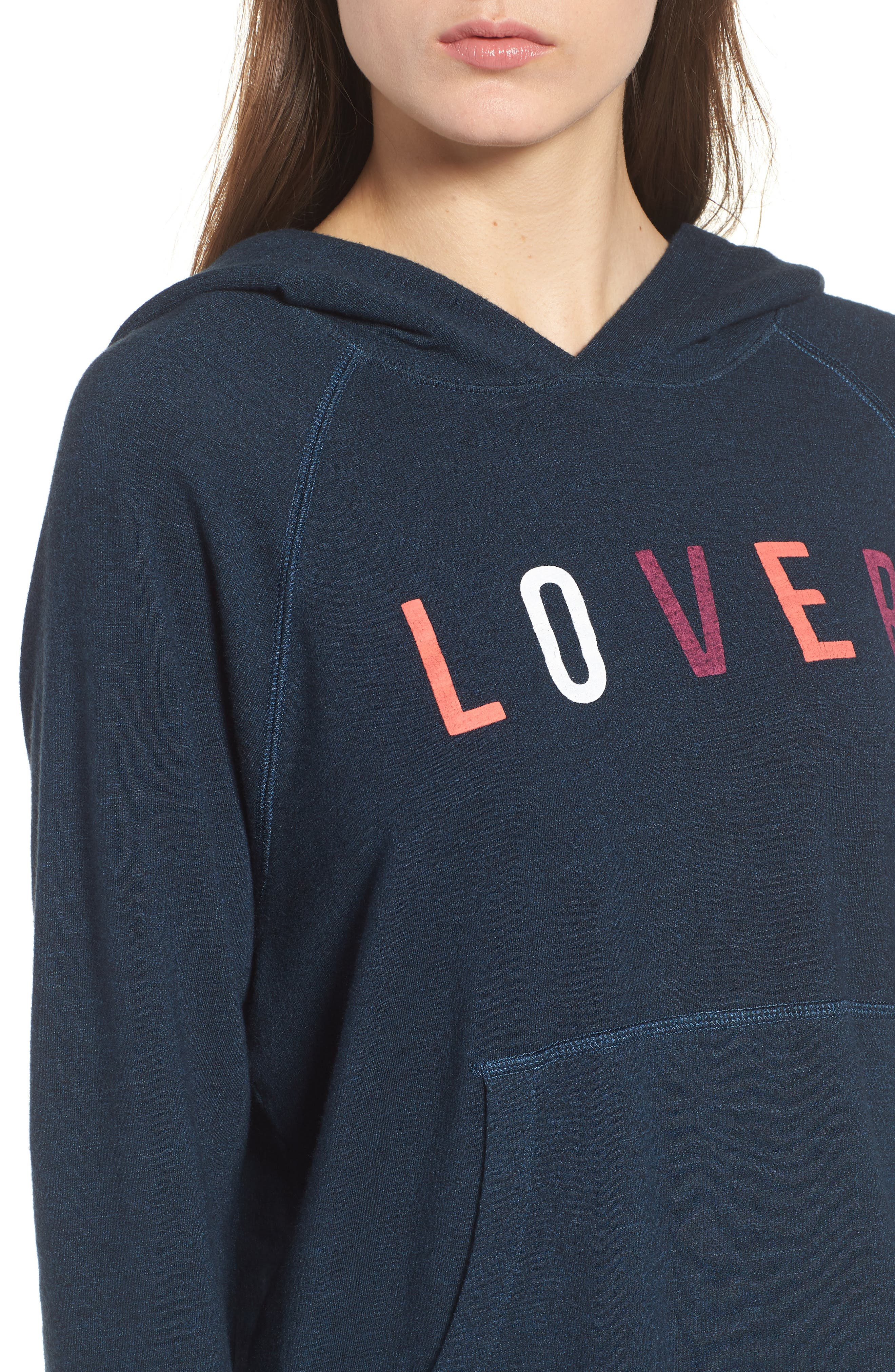 Lover Active Crop Hoodie,                             Alternate thumbnail 4, color,                             Storm