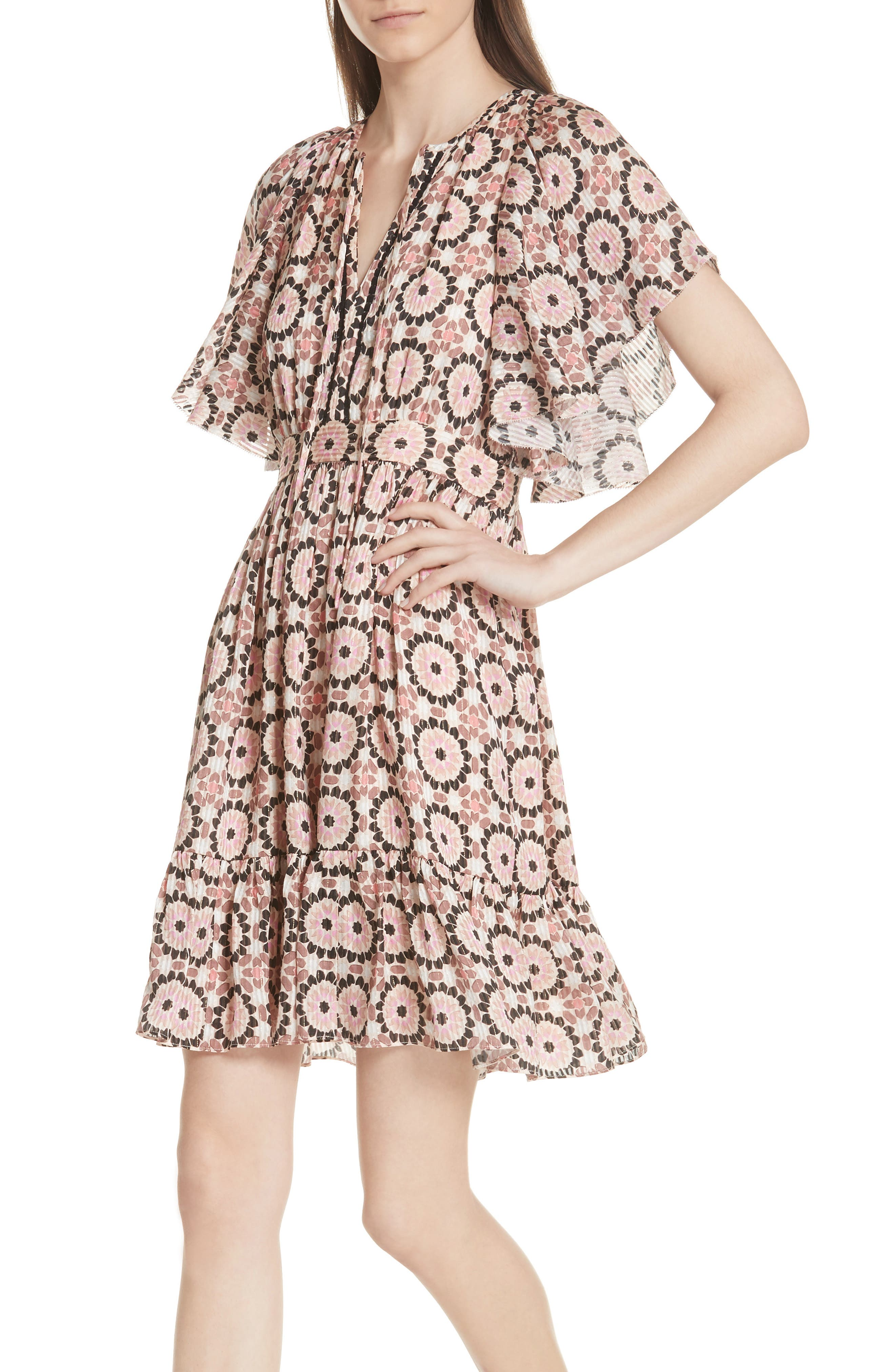 floral mosaic flutter dress,                             Alternate thumbnail 4, color,                             Pearl Pink Multi