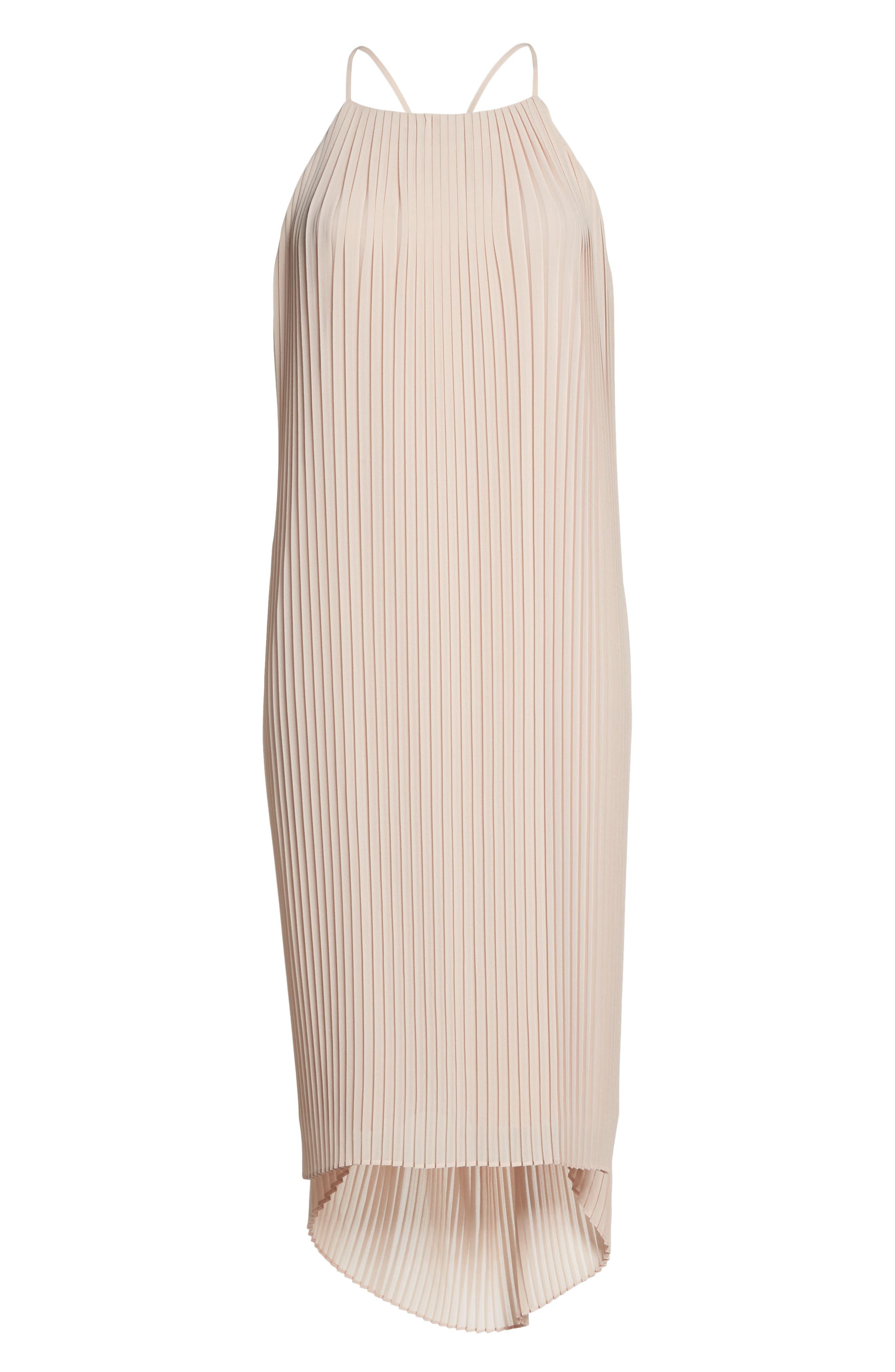 Pleated Midi Dress,                             Alternate thumbnail 7, color,                             Blush
