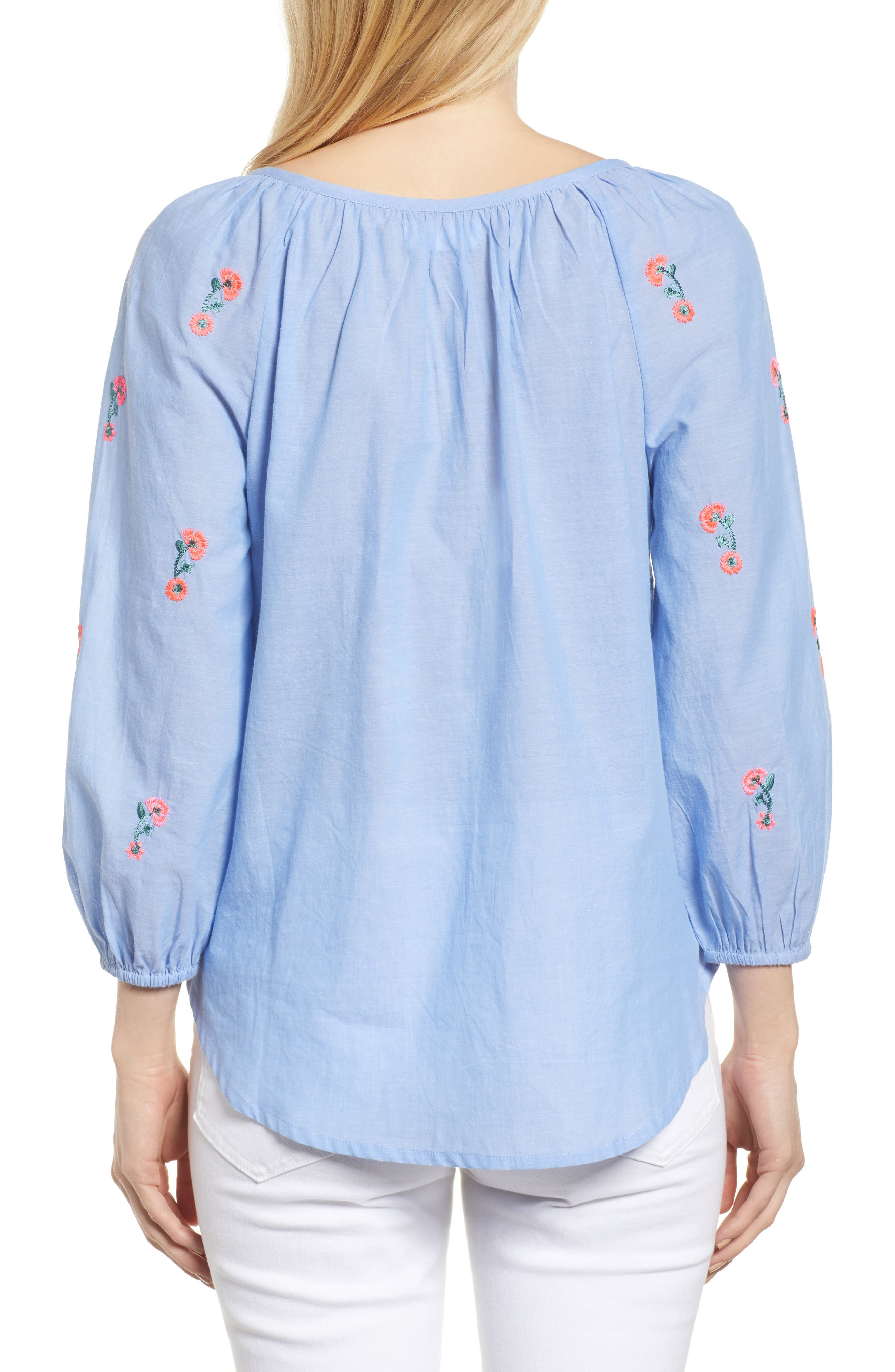 Embroidered Cotton Peasant Blouse,                             Alternate thumbnail 2, color,                             Chambray