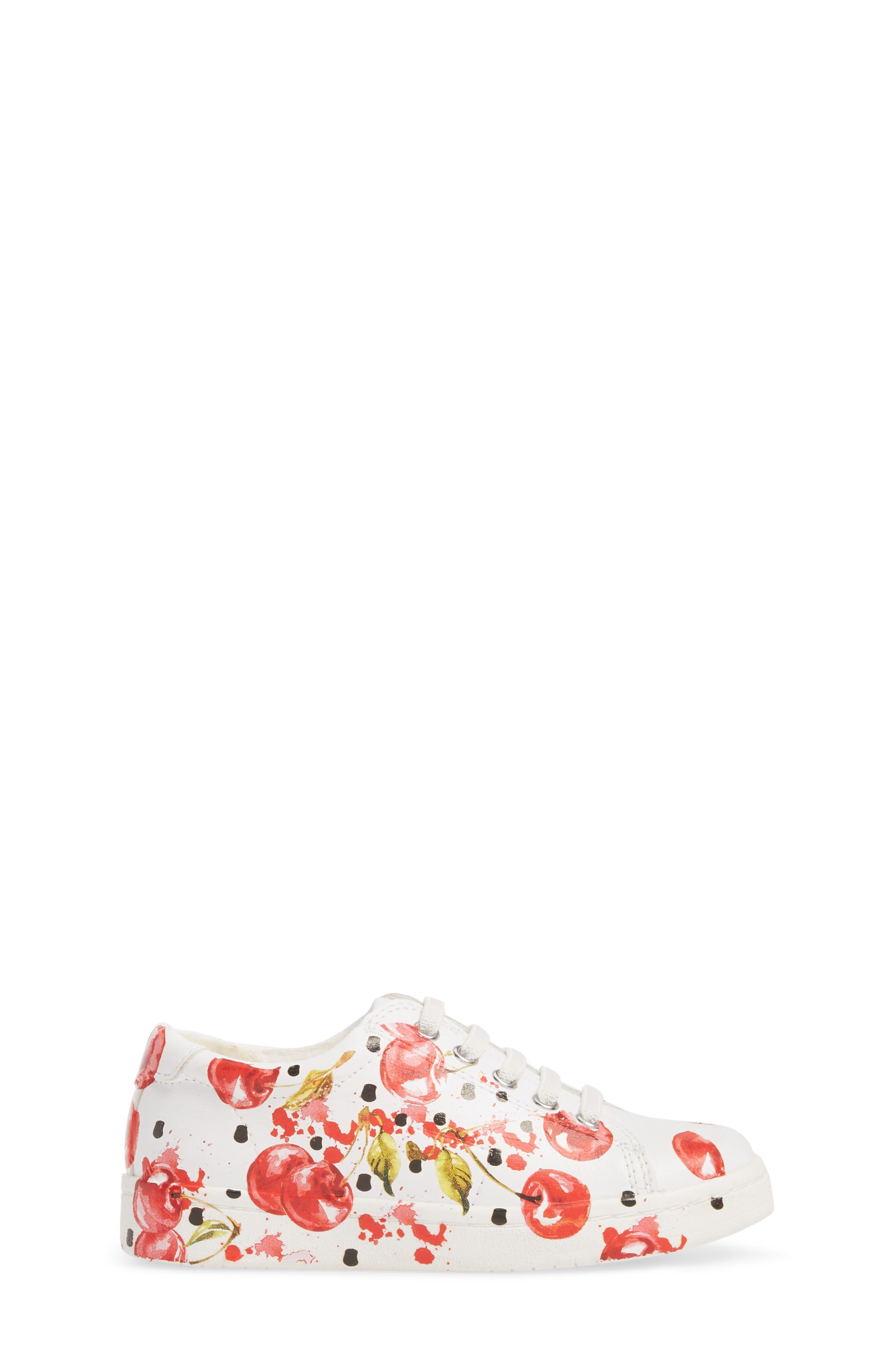 Blane Milford Fruit Print Sneaker,                             Alternate thumbnail 3, color,                             White/ Cherry Faux Leather