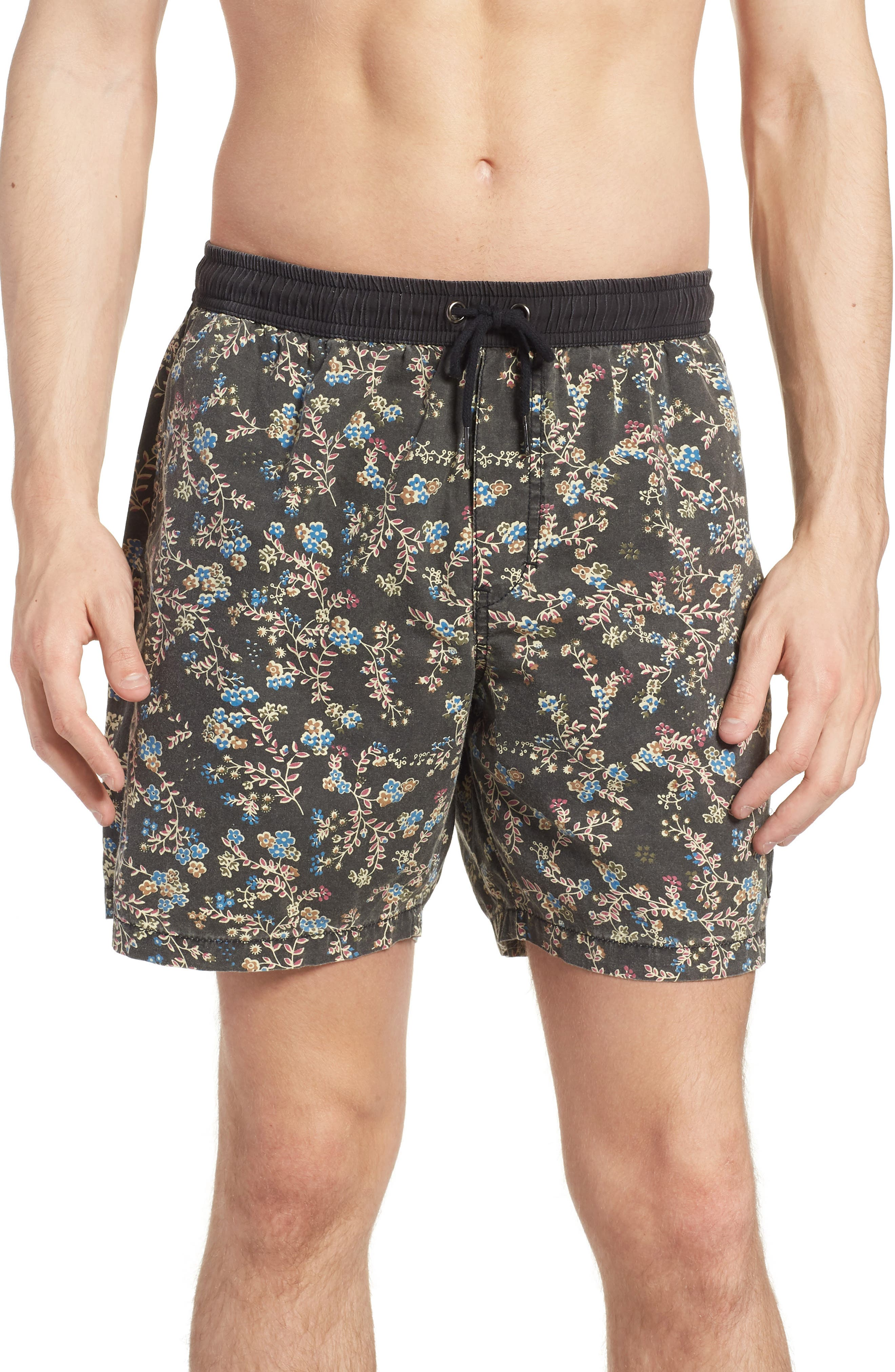 Easy Boardie Swim Trunks,                             Main thumbnail 1, color,                             Black Boom