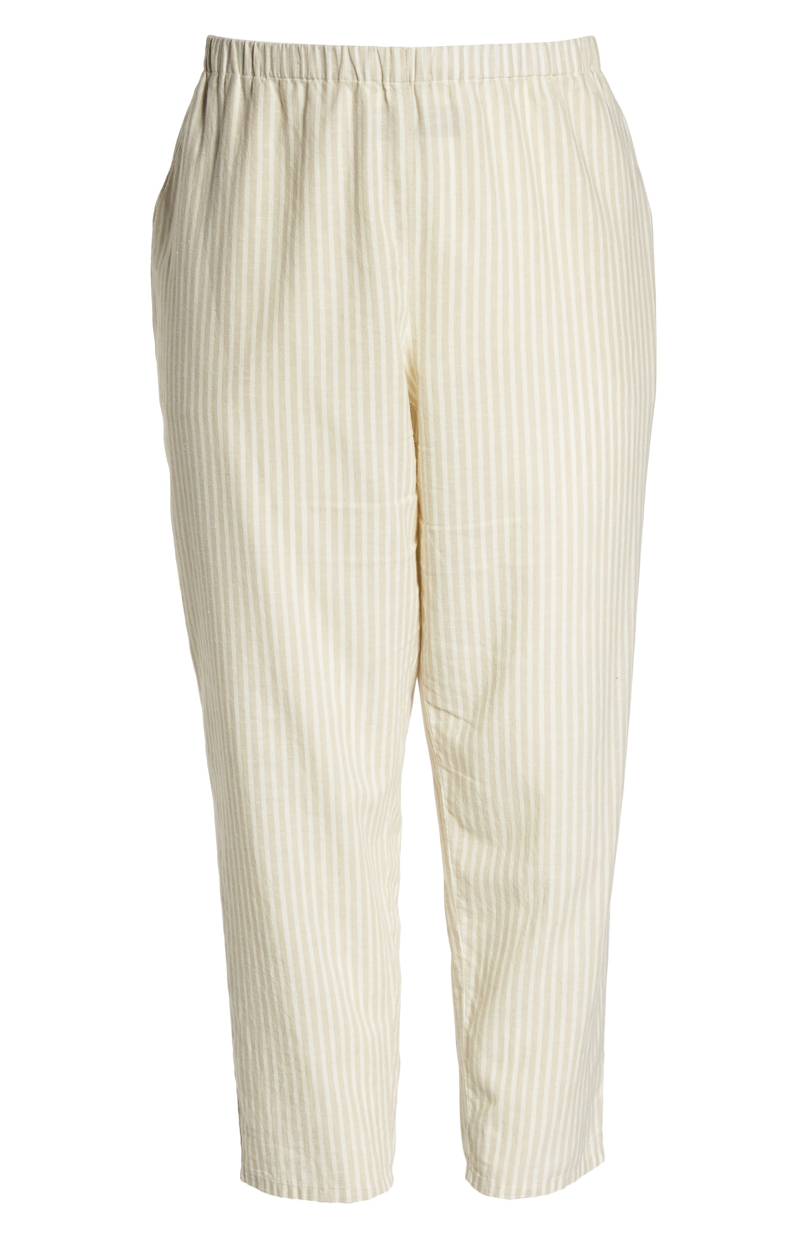 Stripe Ankle Hemp & Cotton Pants,                             Alternate thumbnail 7, color,                             Natural
