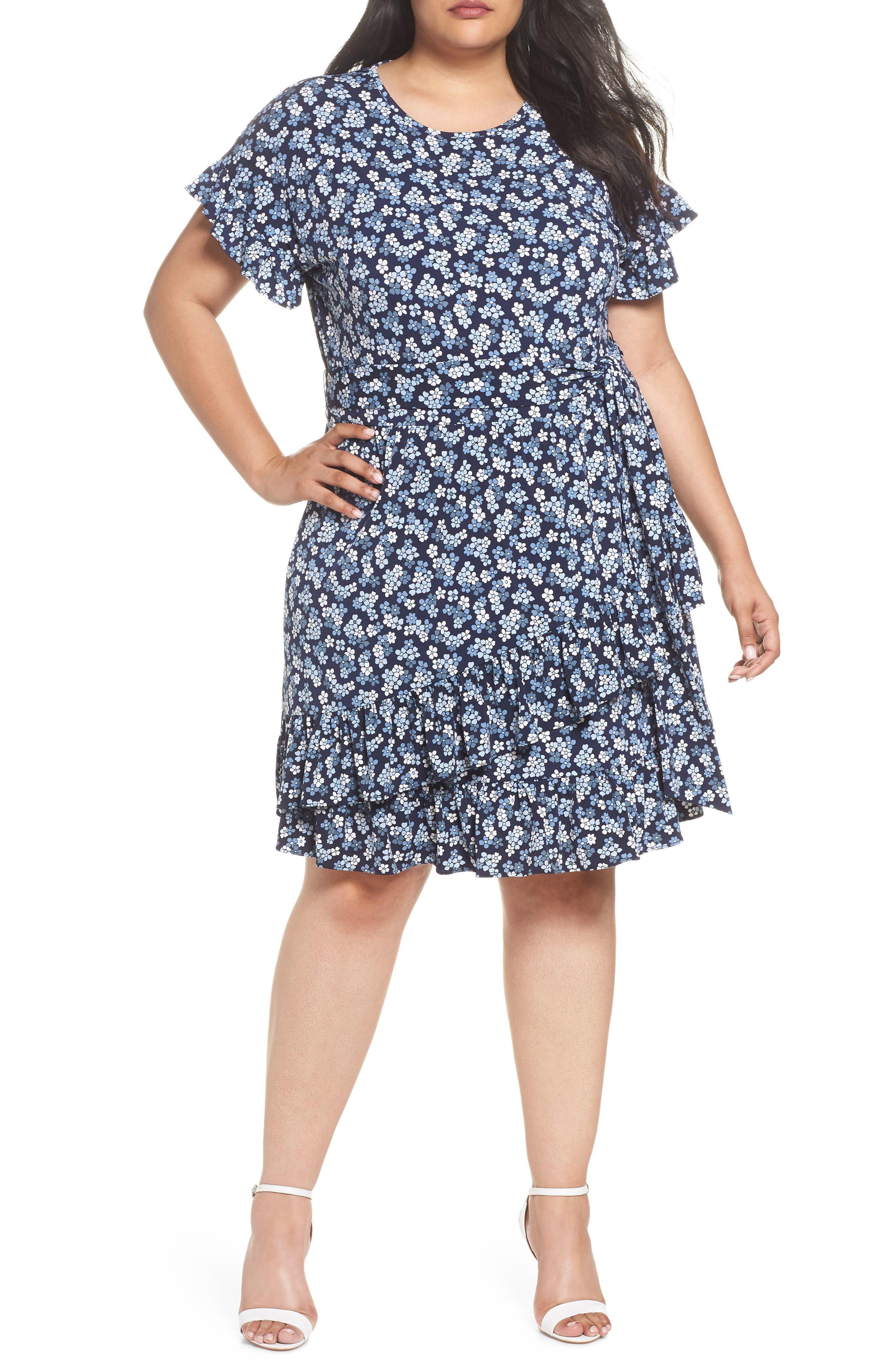 Cherry Blossom Ruffle Faux Wrap Dress,                             Main thumbnail 1, color,                             True Navy/ Light Chambray