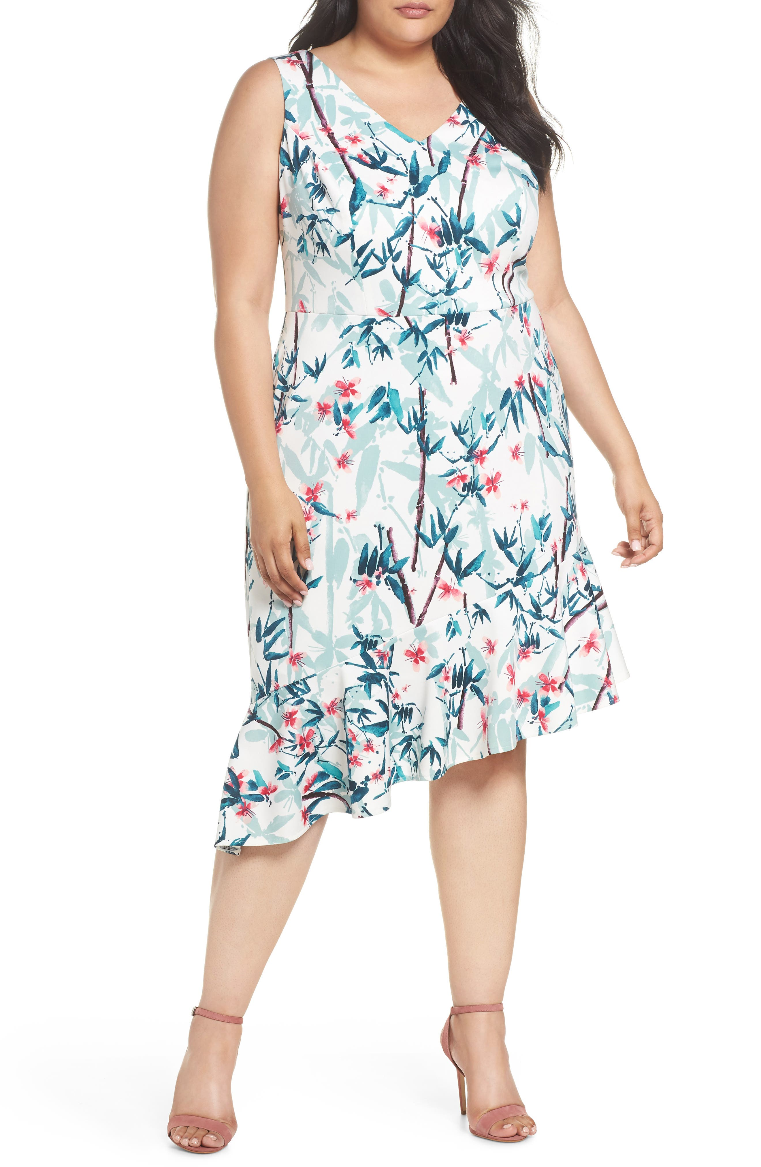 Maggy London Floral Asymmetrical Scuba Sheath Dress (Plus Size)