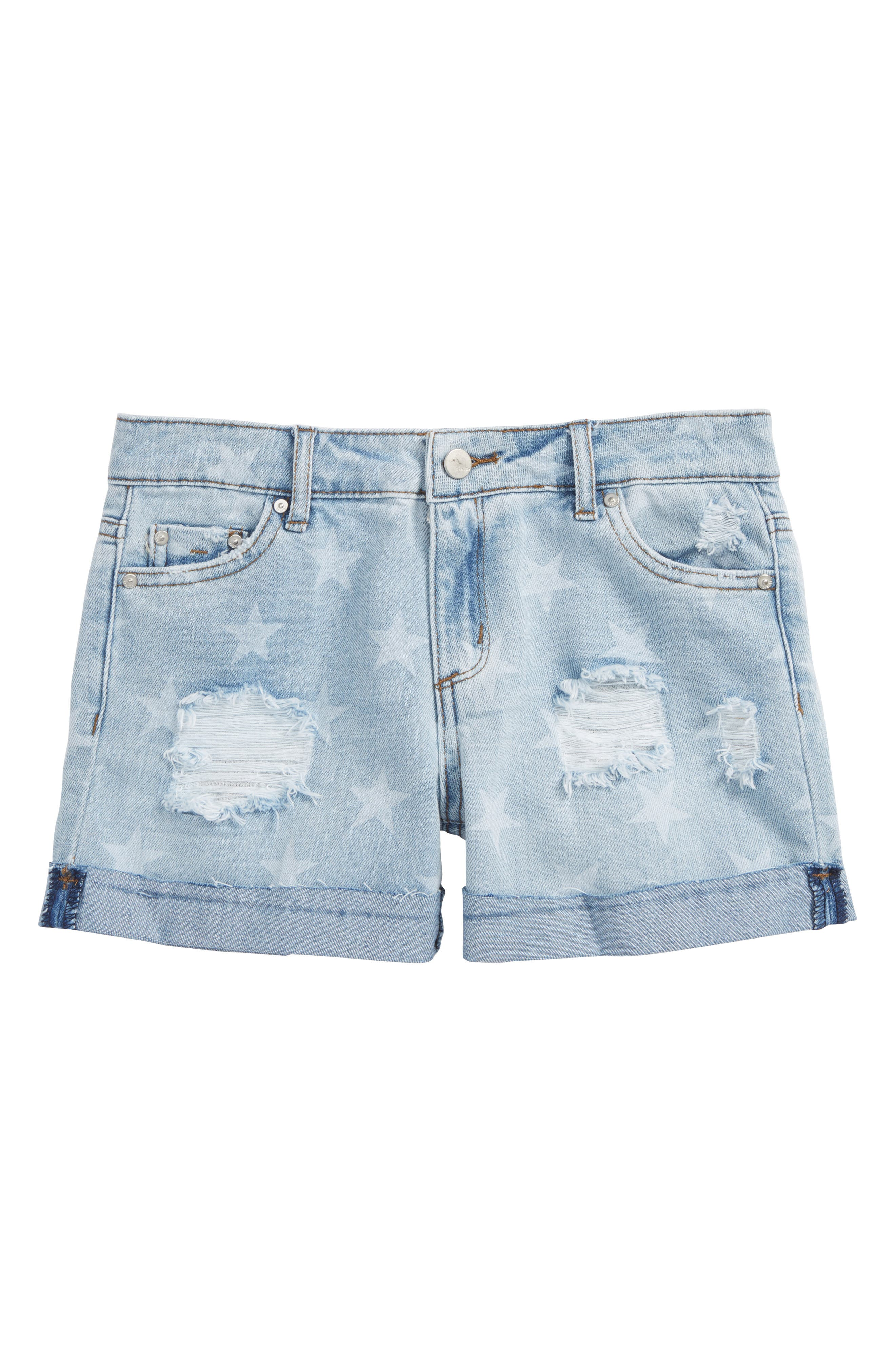 Star Roll Distressed Denim Shorts,                         Main,                         color, Light Indigo