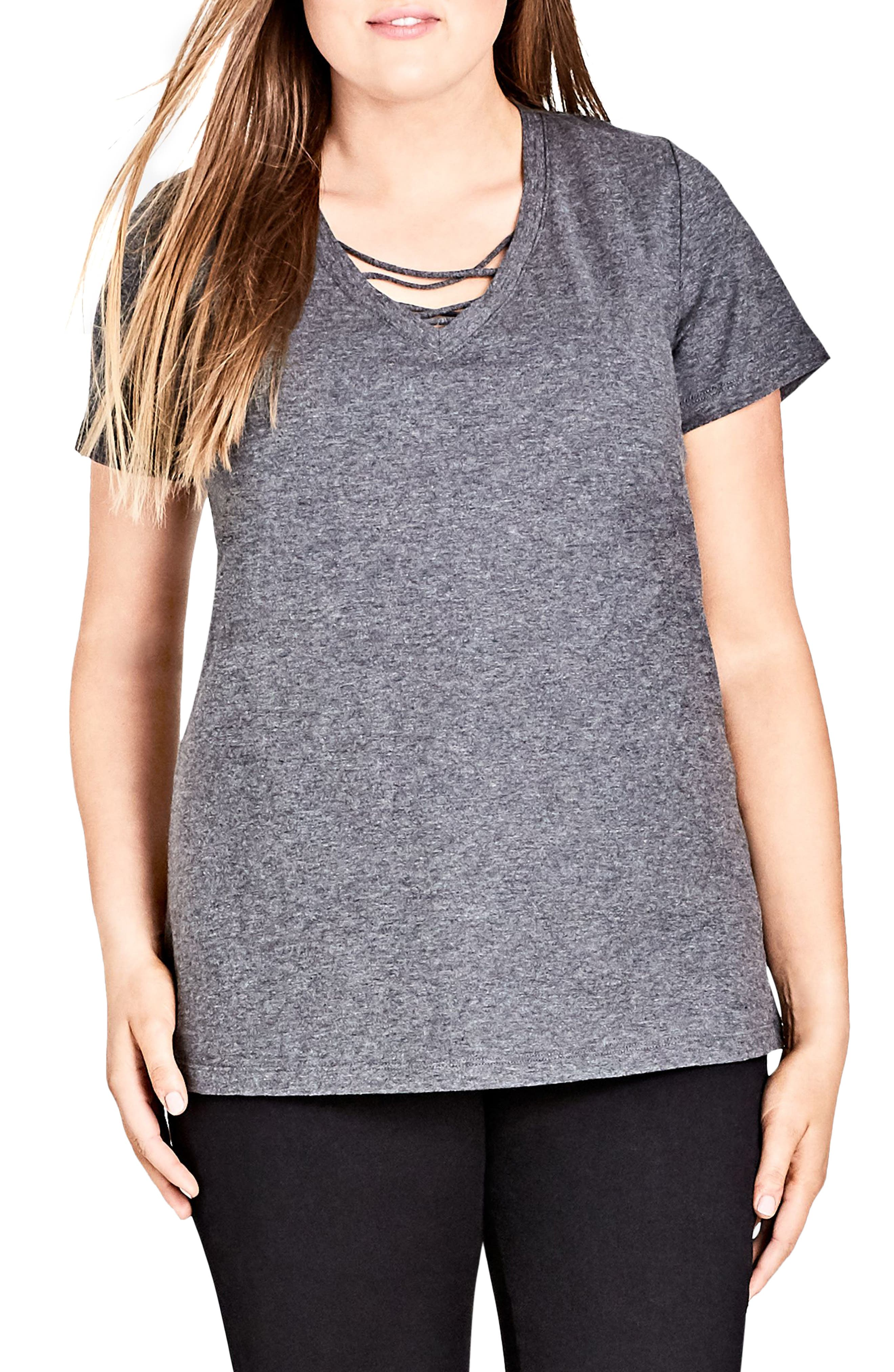 Detail V-Neck Tee,                             Main thumbnail 1, color,                             Charcoal