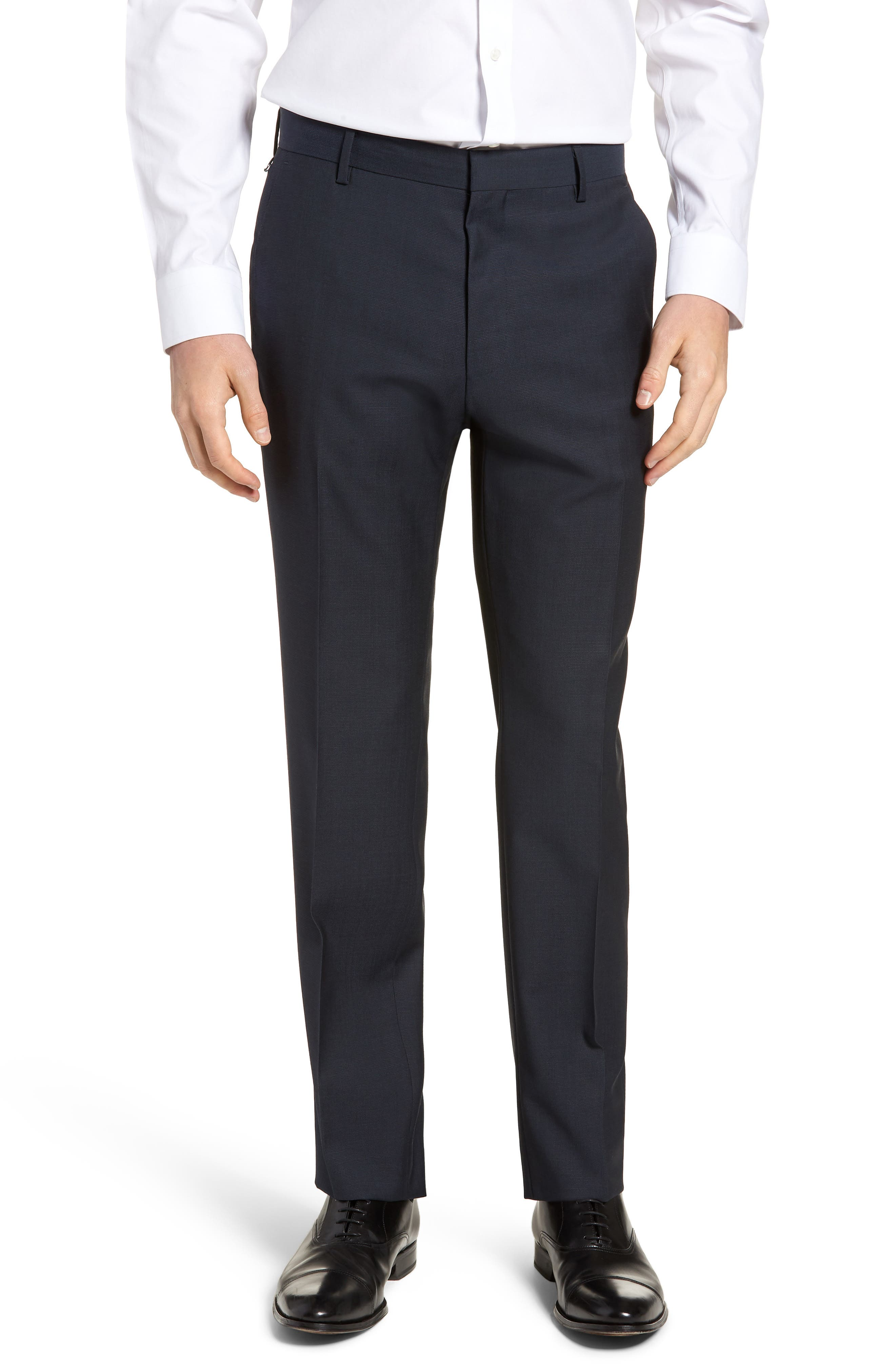 Barnes Flat Front Solid Wool Trousers,                             Main thumbnail 1, color,                             Navy