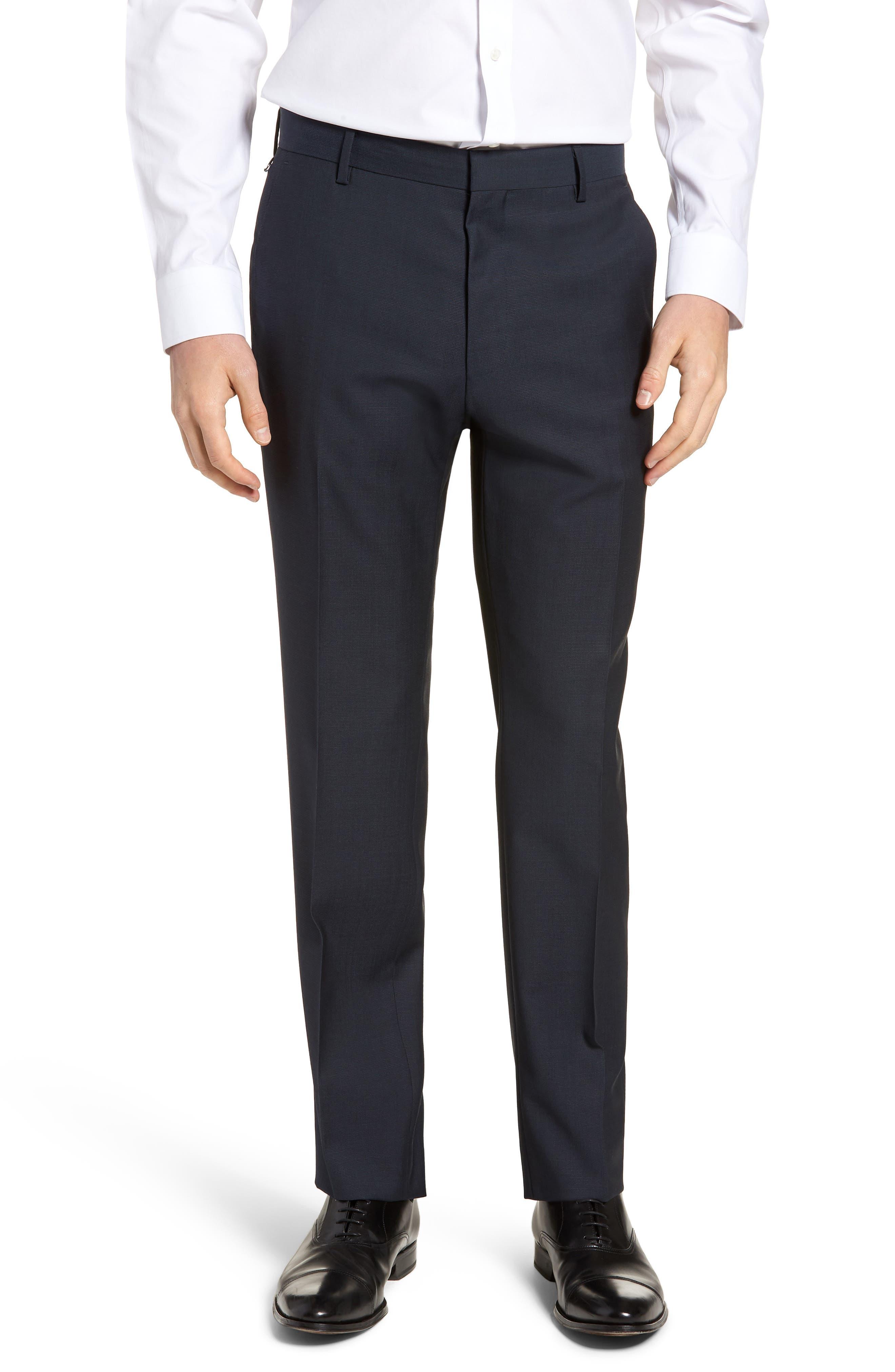 BOSS Barnes Flat Front Solid Wool Trousers
