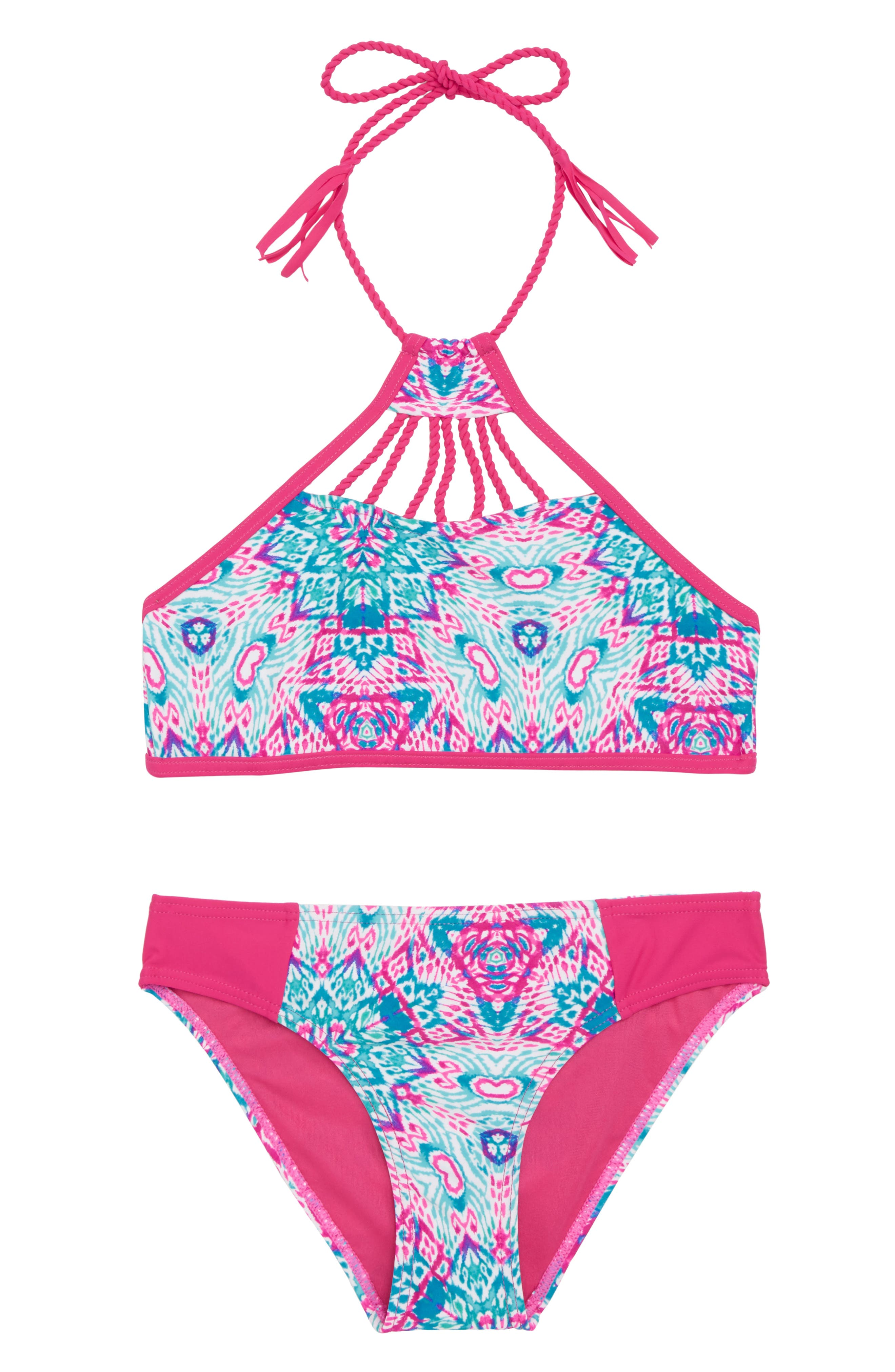 Braided Detail Two-Piece Swimsuit,                         Main,                         color, Pink