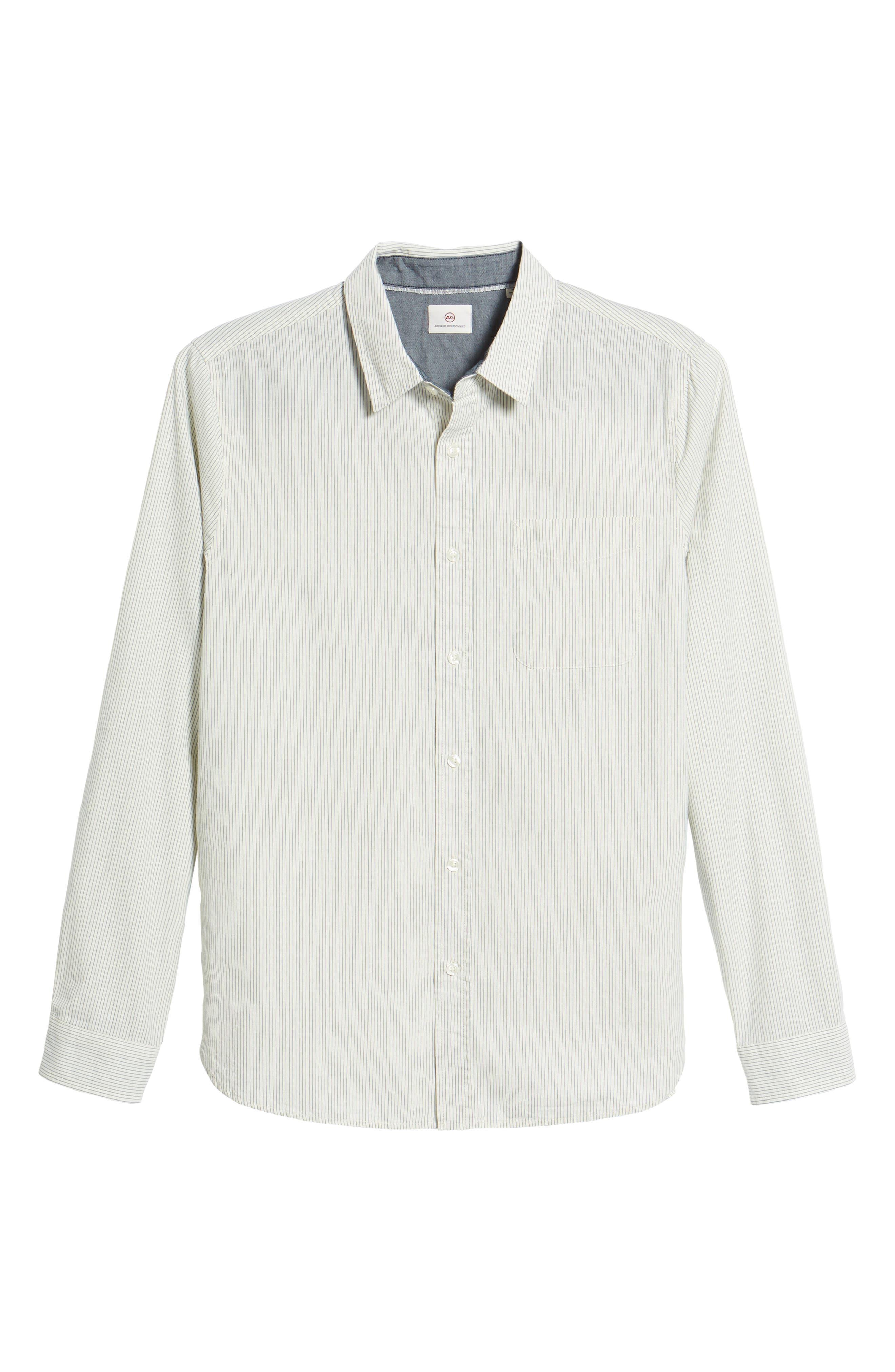 Colton Regular Fit Stripe Sport Shirt,                             Alternate thumbnail 6, color,                             Natural/Mosaic Blue