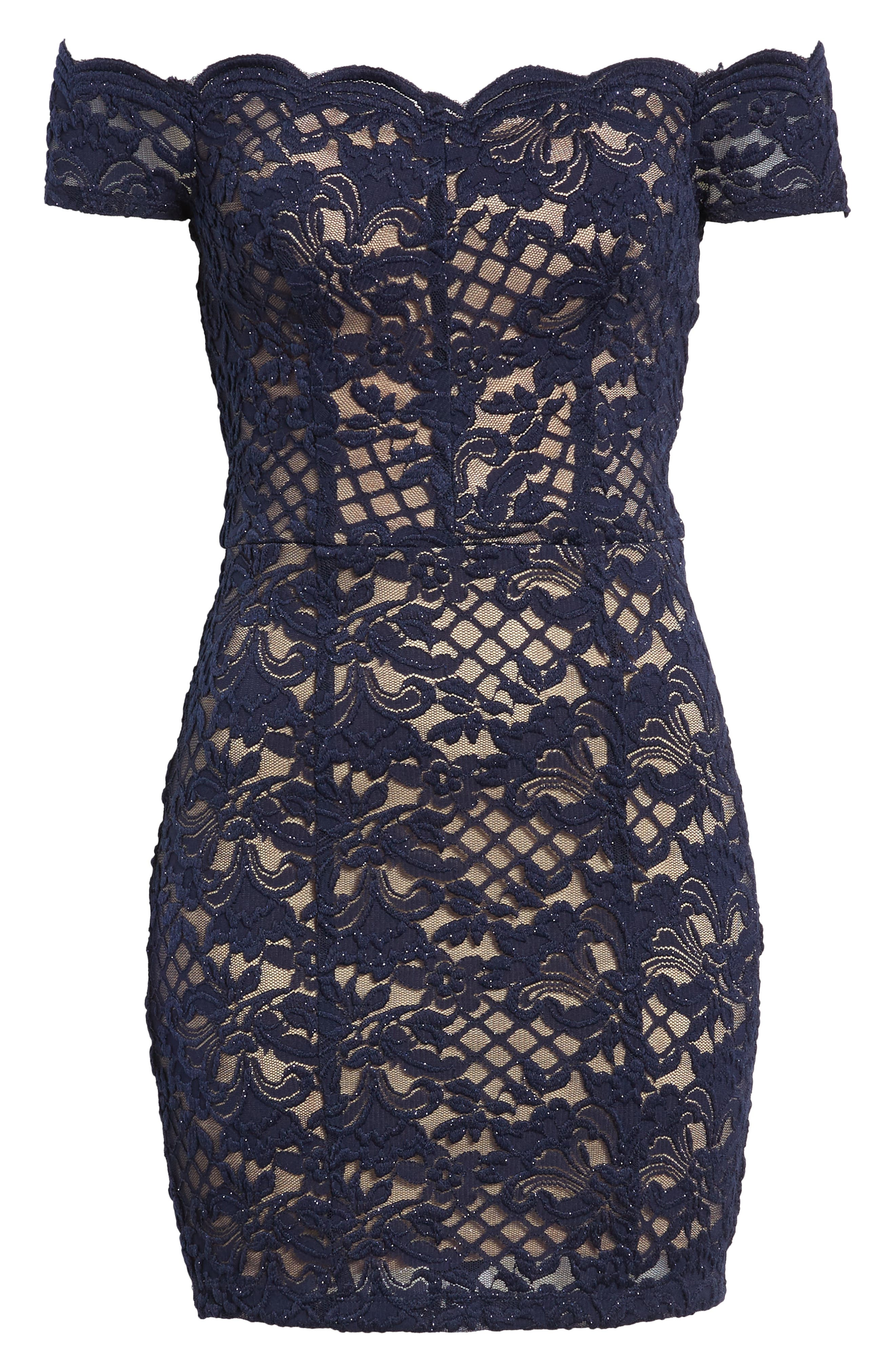 Lace Off the Shoulder Body-Con Dress,                             Alternate thumbnail 7, color,                             Navy/ Taupe
