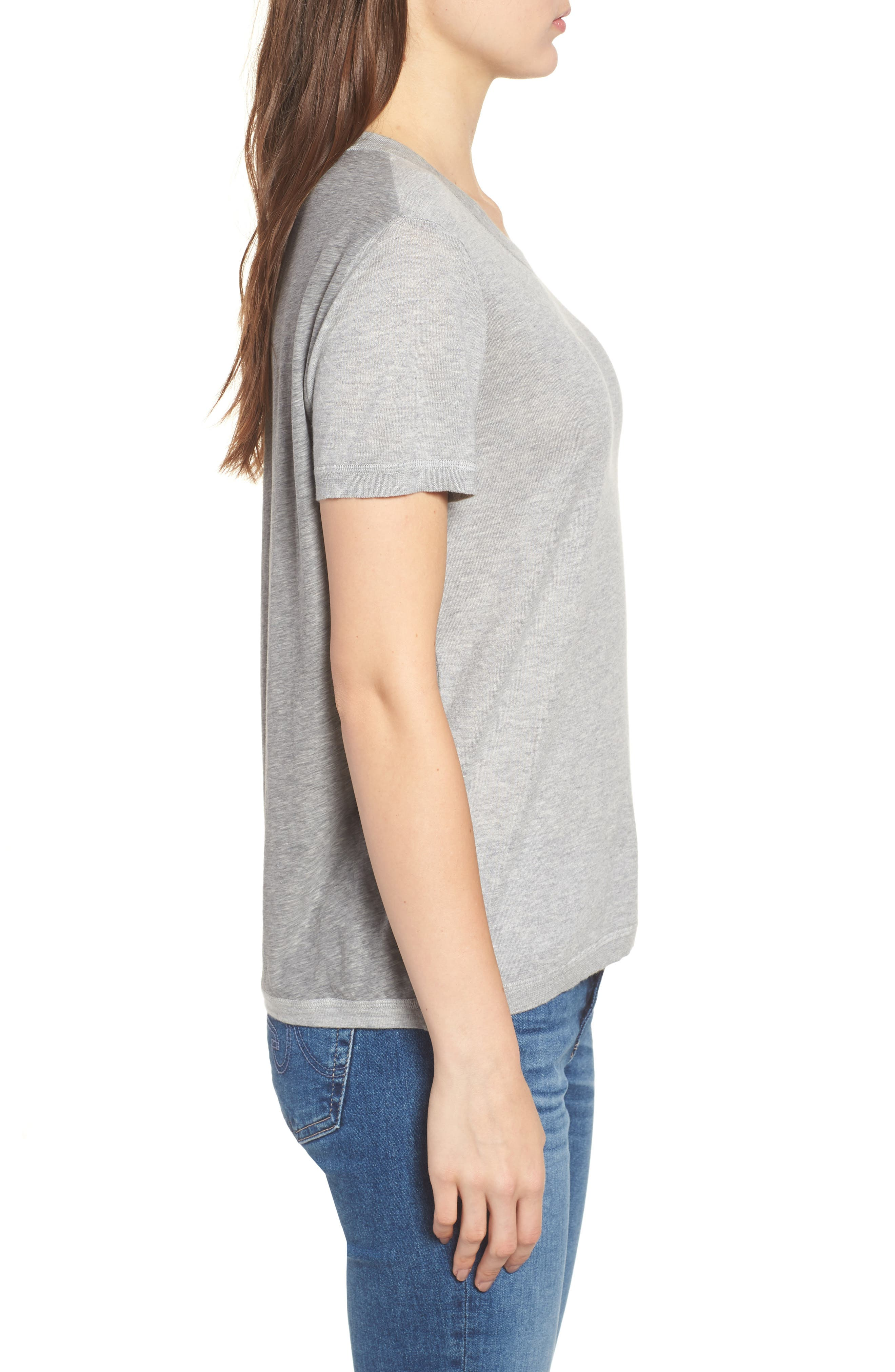 Cotton & Cashmere Tee,                             Alternate thumbnail 3, color,                             Heather Grey