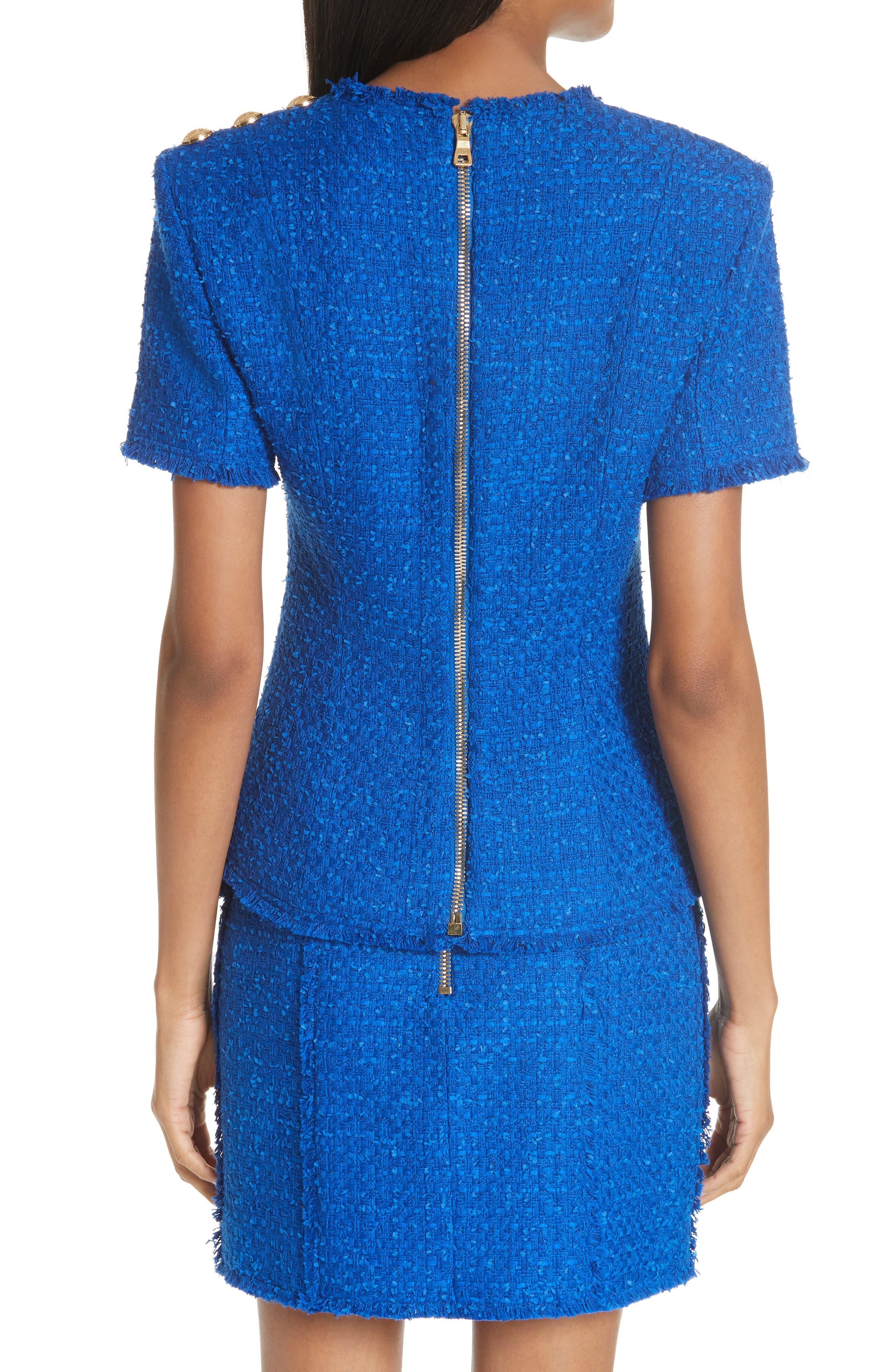 Alternate Image 2  - Balmain Button Shoulder Tweed Top