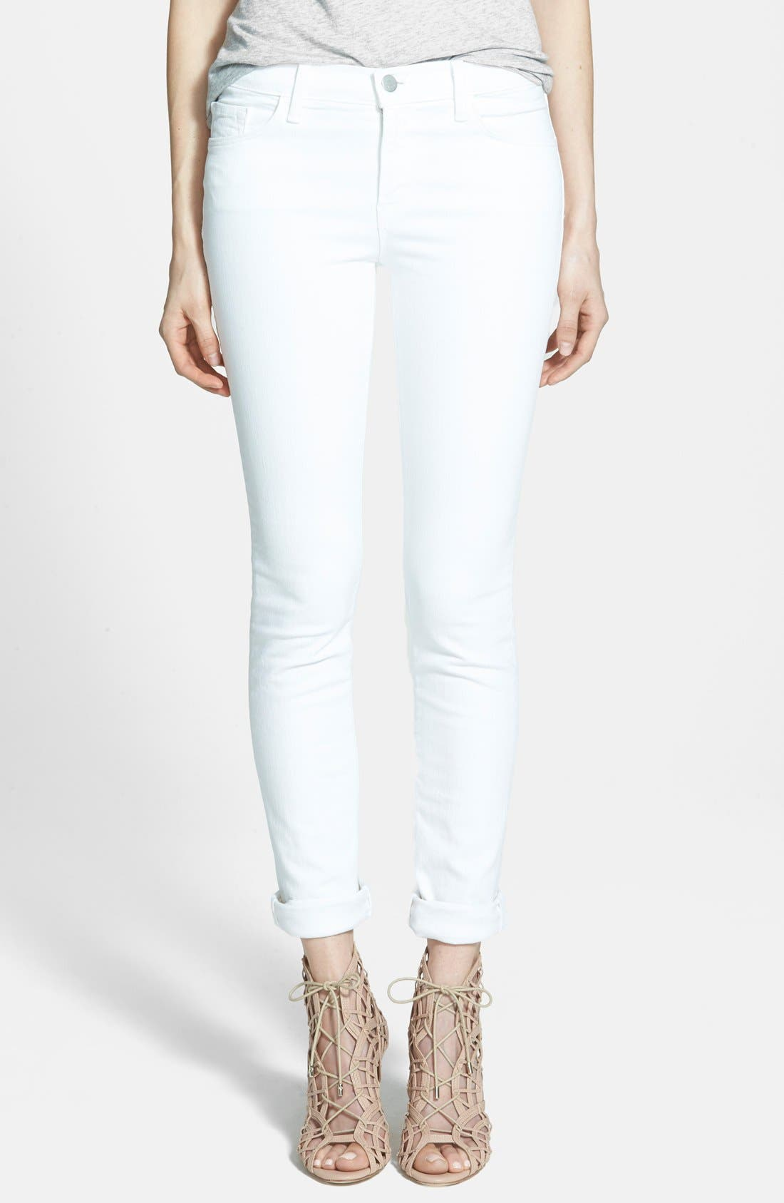 '811' Mid-Rise Stovepipe Jeans,                         Main,                         color, Blanc