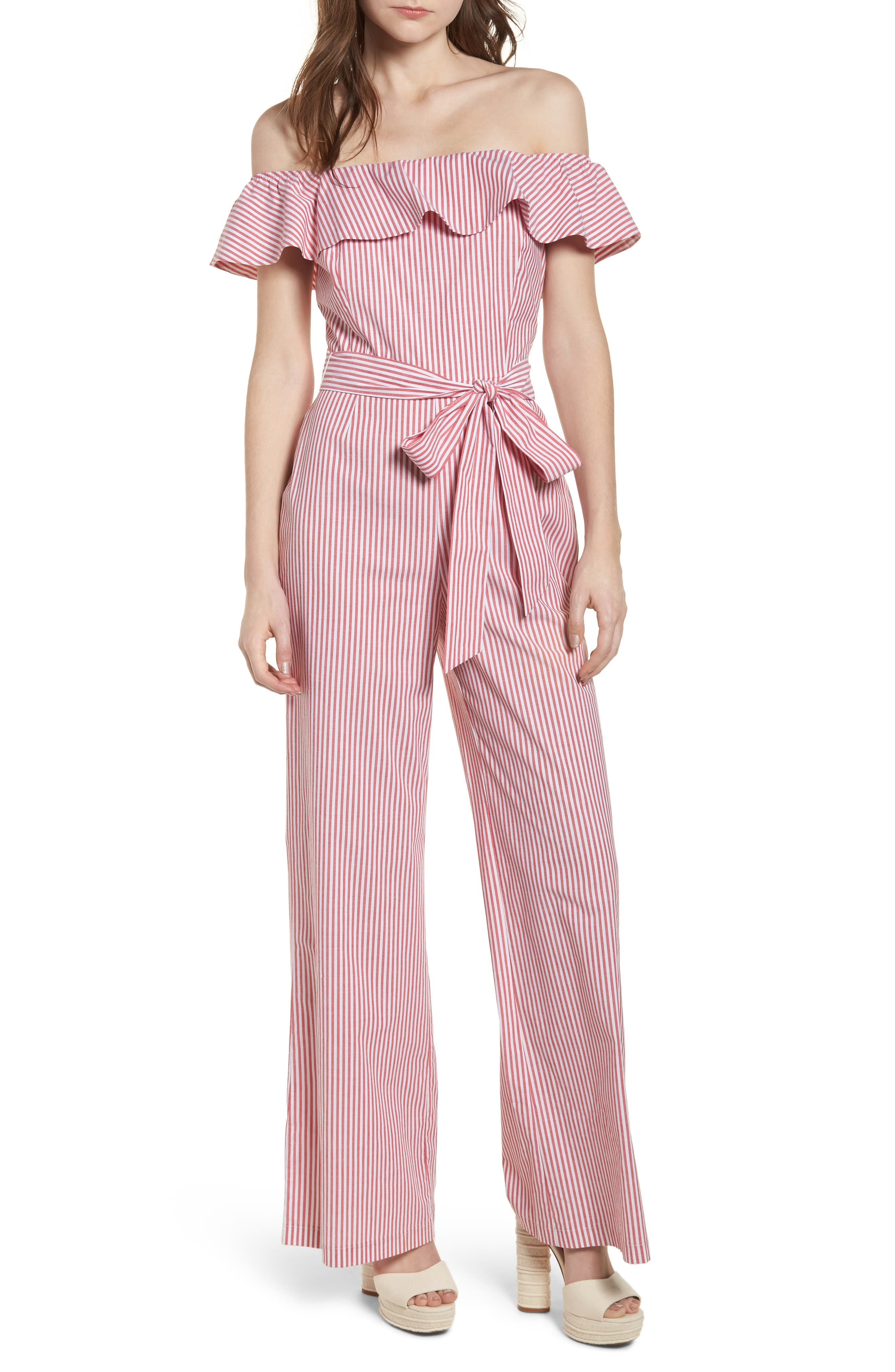 Grenoble Off The Shoulder Jumpsuit,                             Main thumbnail 1, color,                             Red Stripe