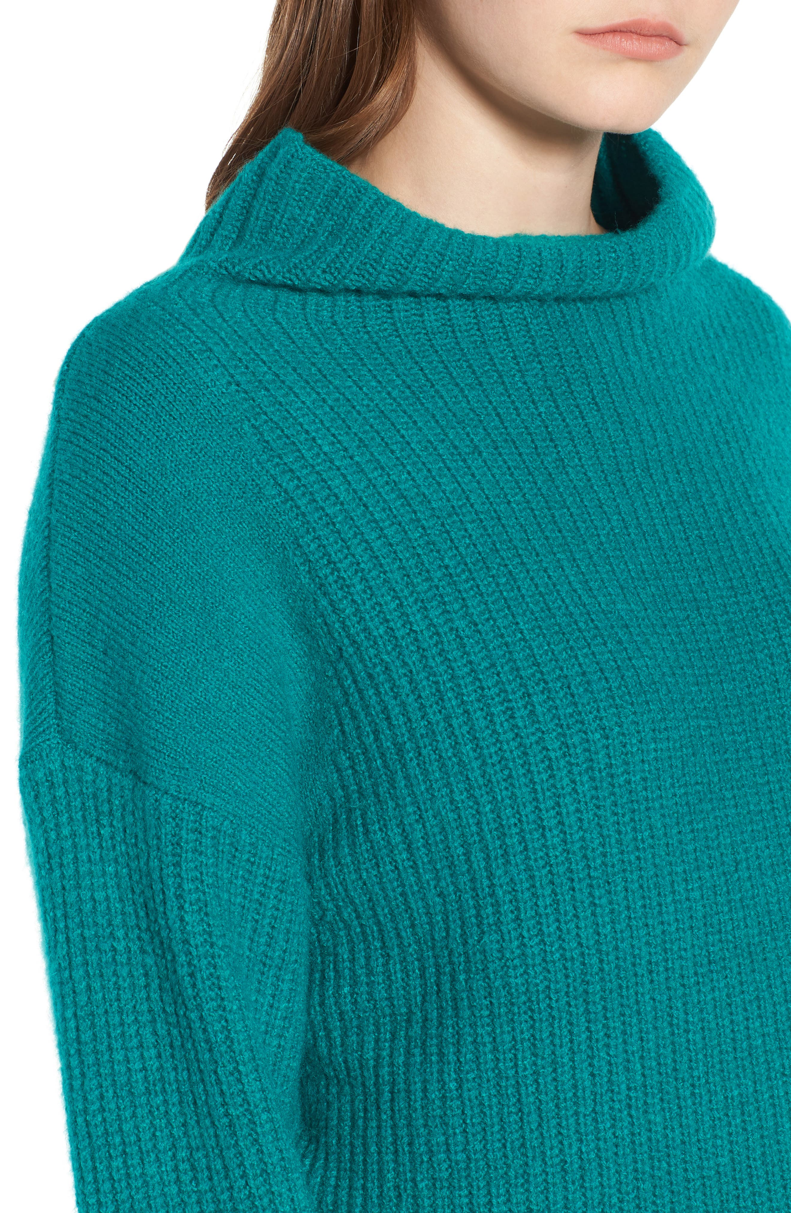 Rib Funnel Neck Sweater,                             Alternate thumbnail 4, color,                             Teal Sail