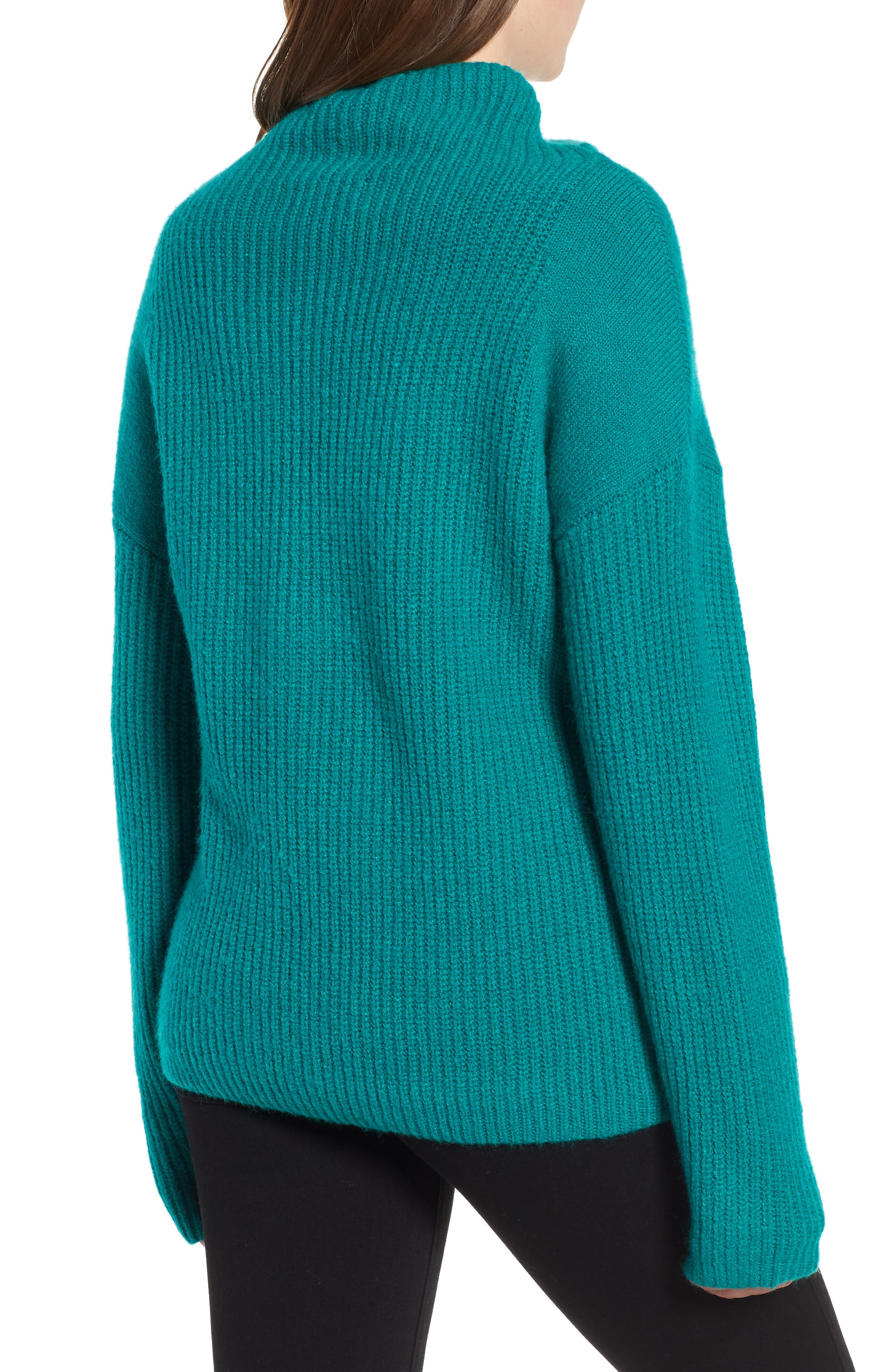 Rib Funnel Neck Sweater,                             Alternate thumbnail 2, color,                             Teal Sail