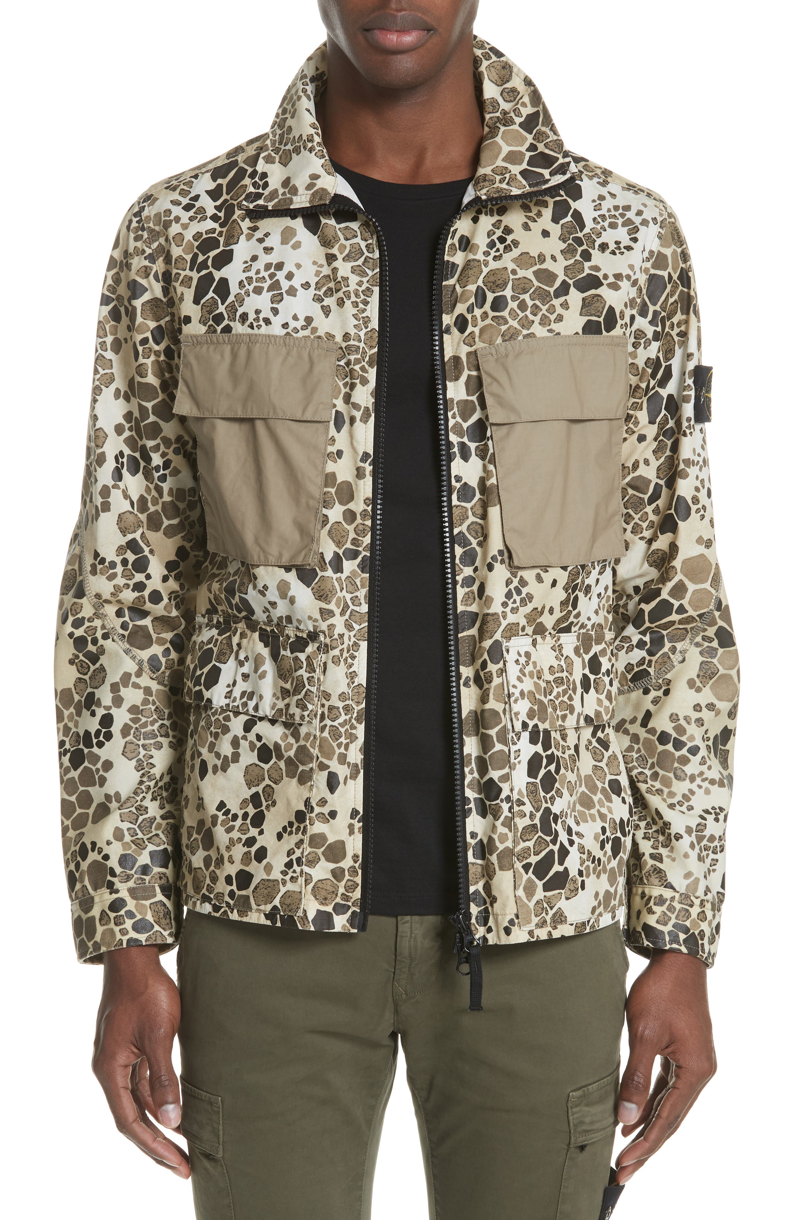 Camo Military Field Jacket,                         Main,                         color, Brown