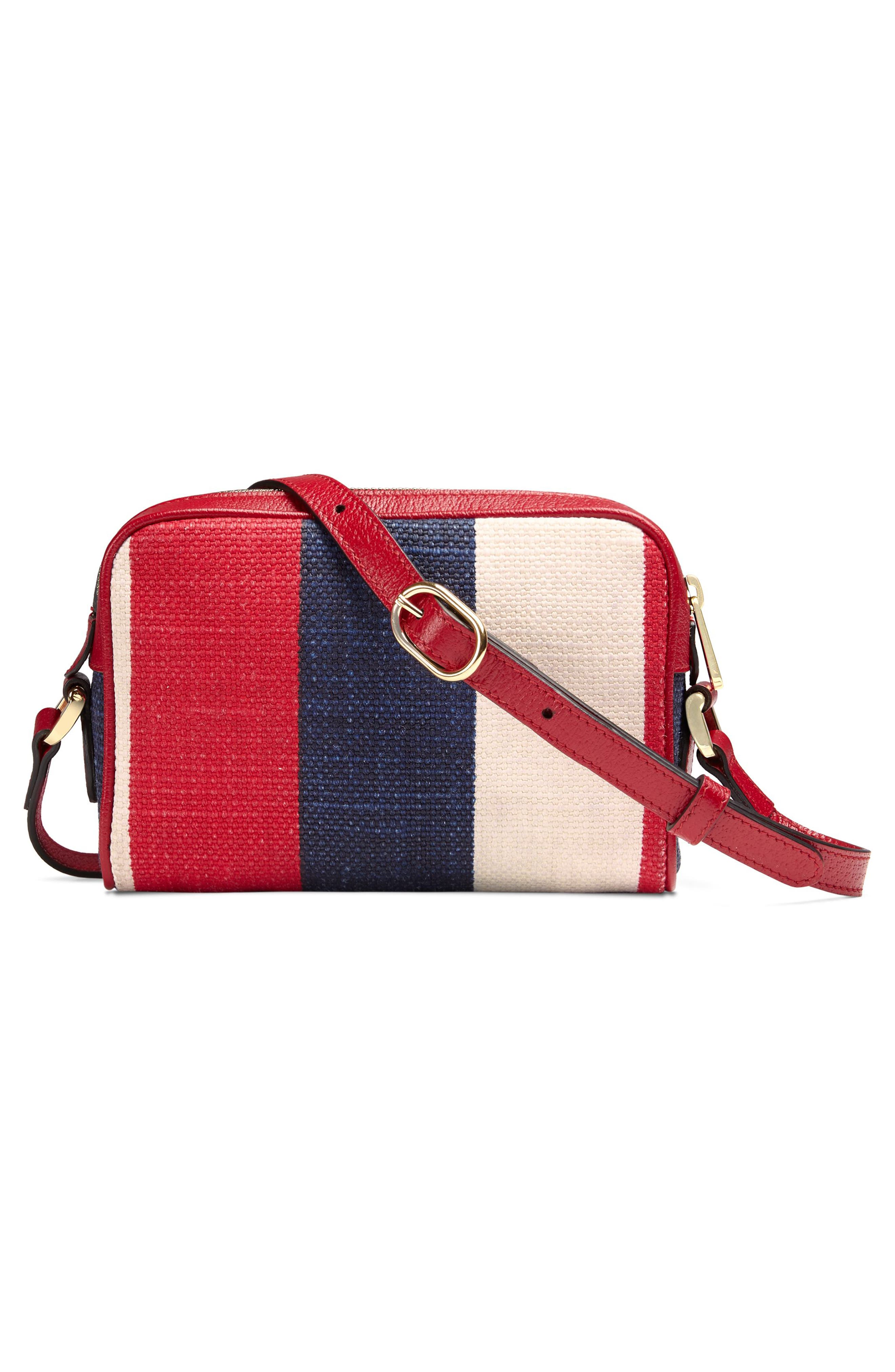 Ophidia Washed Cotton Stripe Mini Bag,                             Alternate thumbnail 2, color,                             Hibiscus Red/ White/ Blue