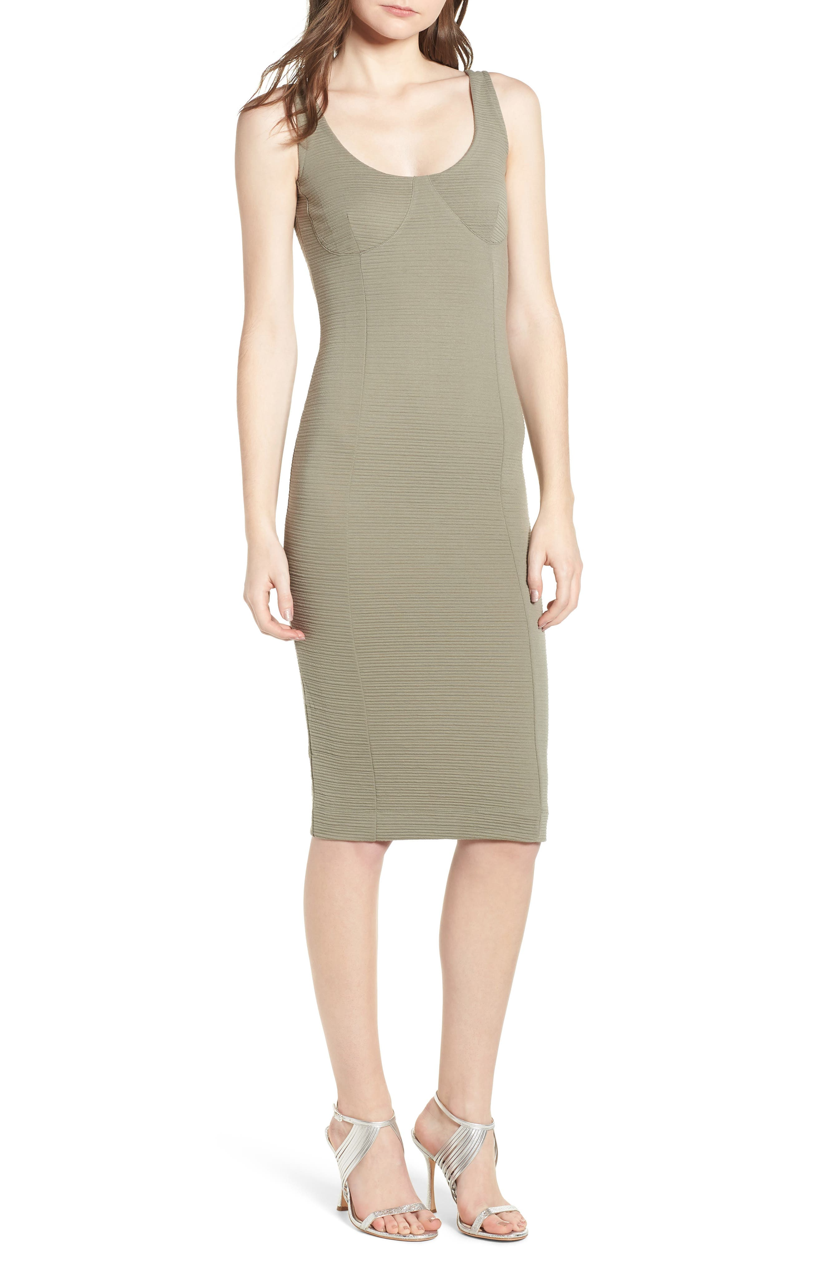 Underbust Rib Body-Con Dress,                             Main thumbnail 1, color,                             Olive
