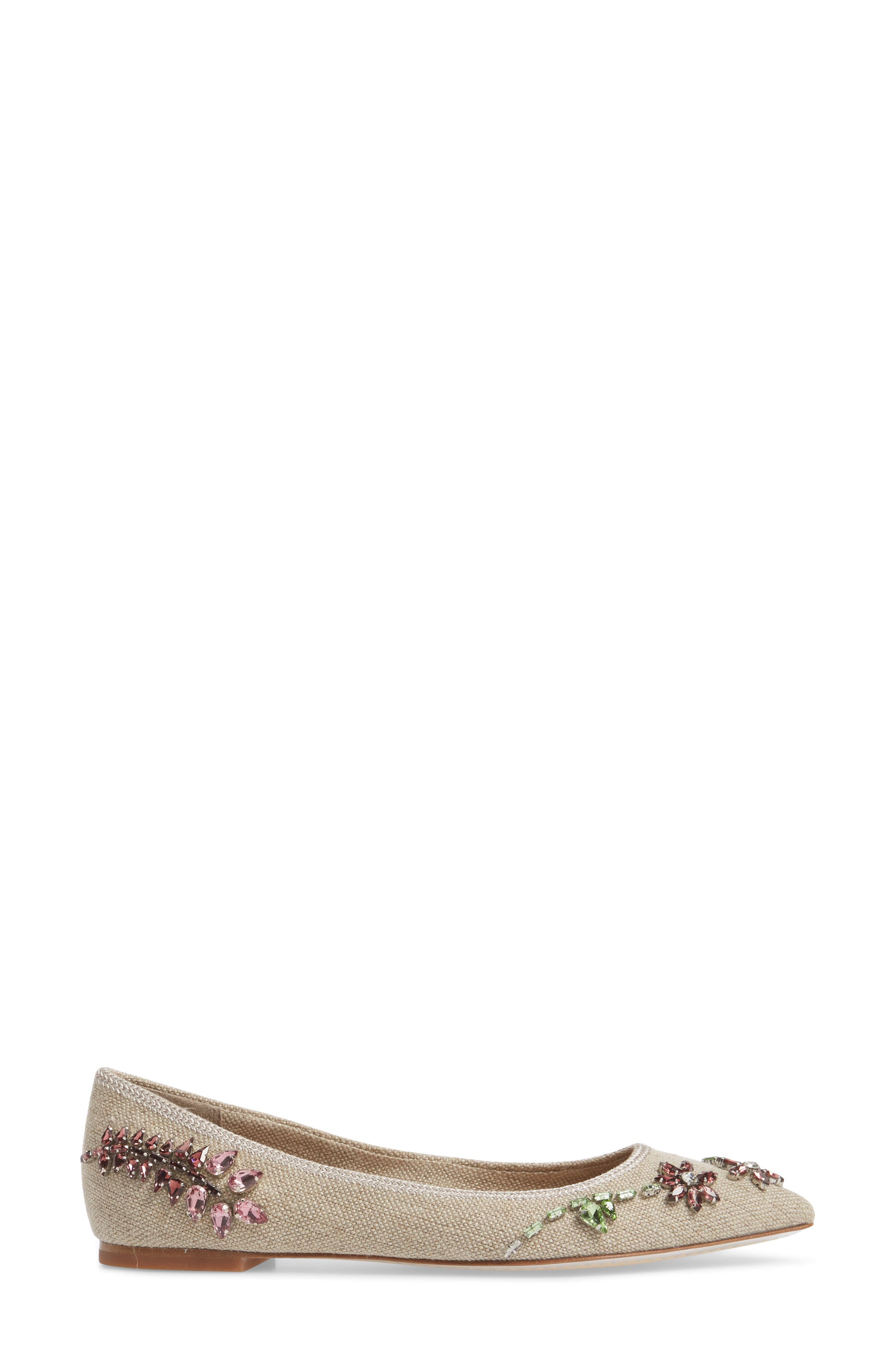 Meadow Embellished Pointy Toe Flat,                             Alternate thumbnail 3, color,                             Natural/ Multi Color