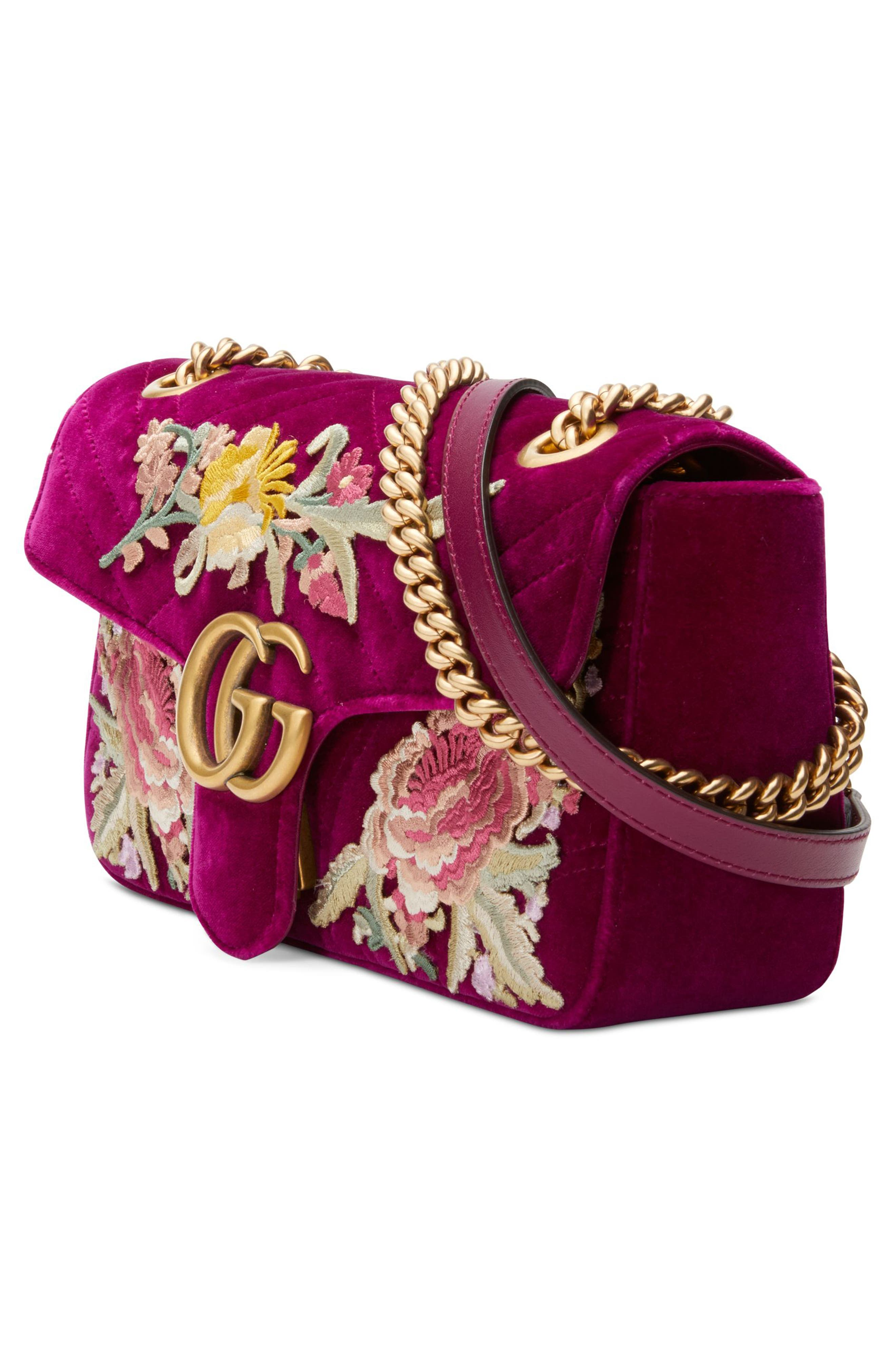 Small GG Marmont 2.0 Matelassé Velvet Shoulder Bag,                             Alternate thumbnail 4, color,                             Fuchsia/ Fuchsia