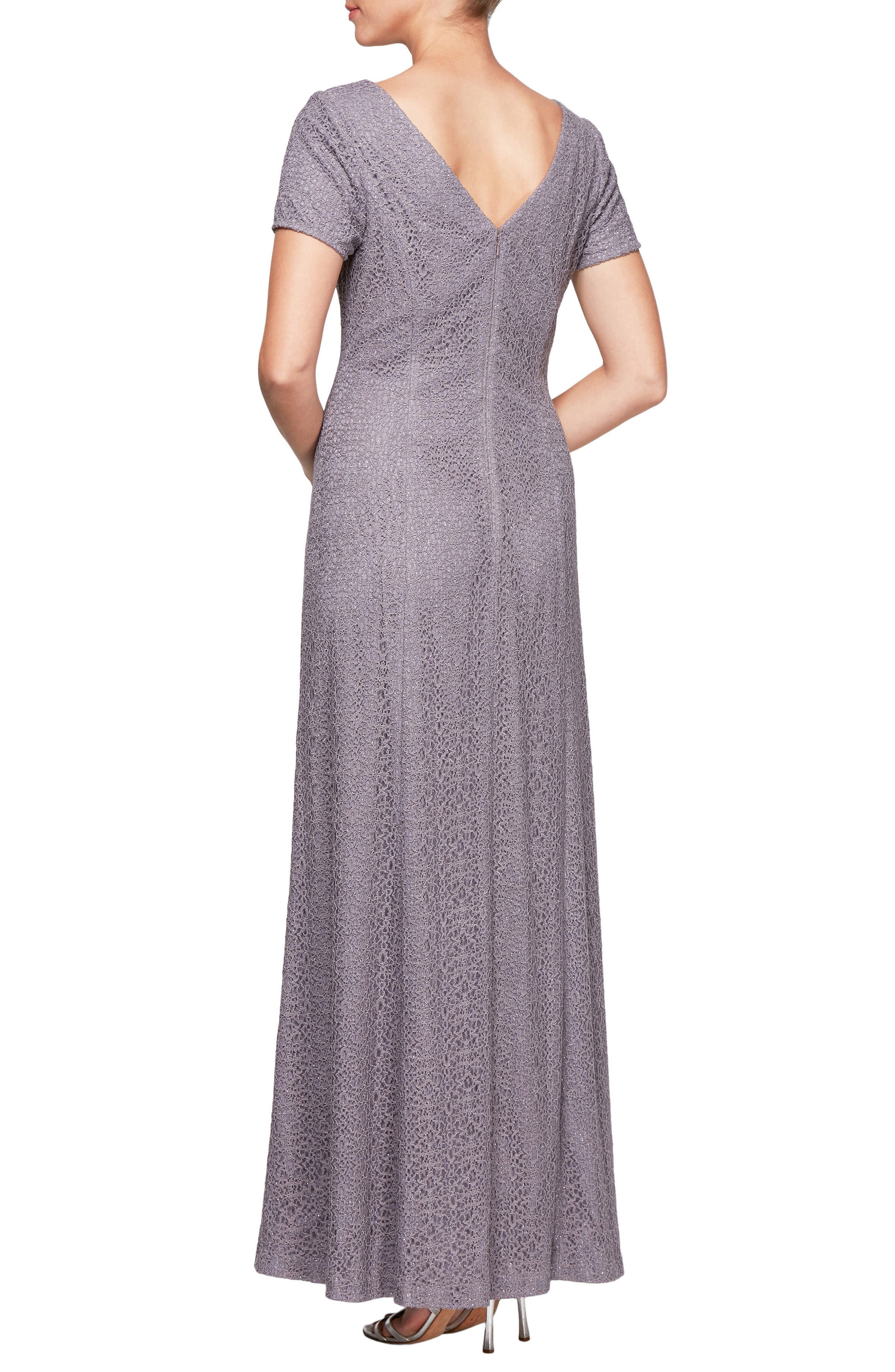 Illusion Neck Lace Gown,                             Alternate thumbnail 2, color,                             Amethyst