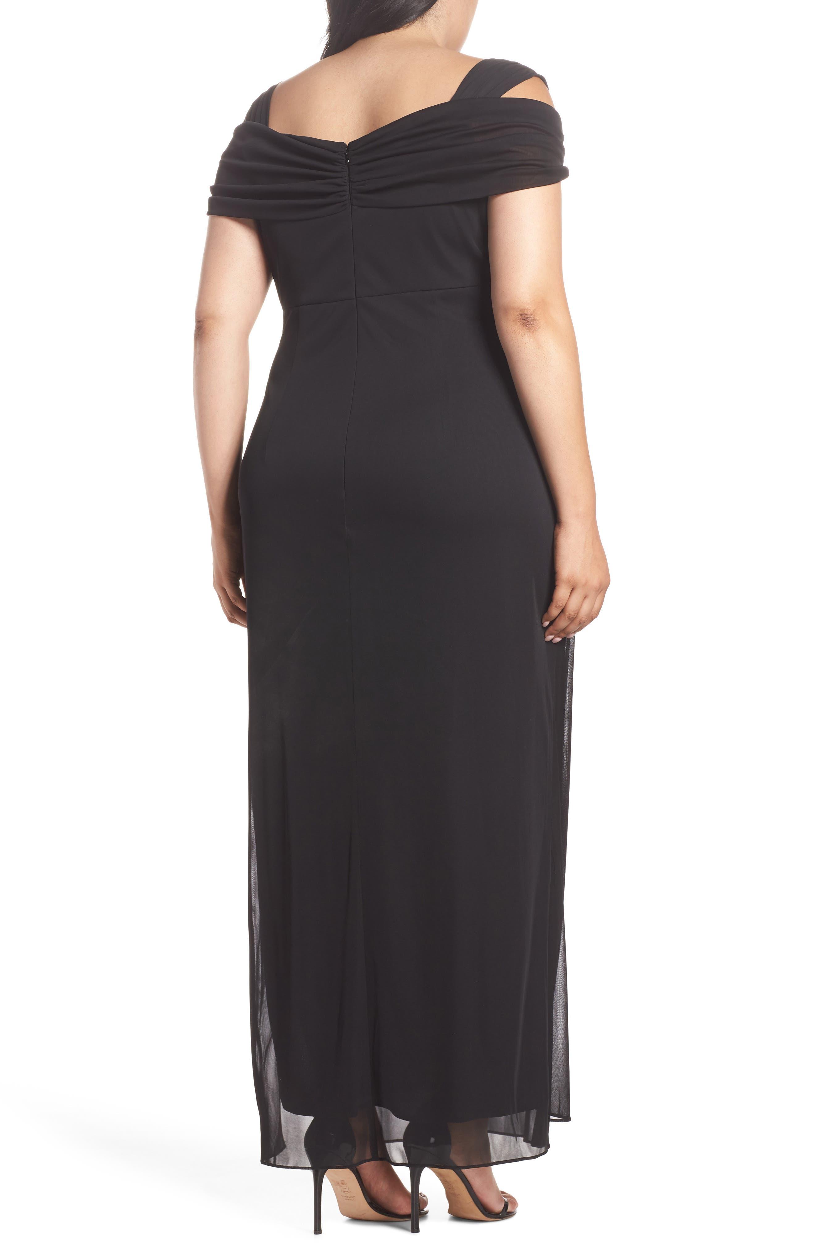 Cold Shoulder Mesh Gown,                             Alternate thumbnail 2, color,                             Black