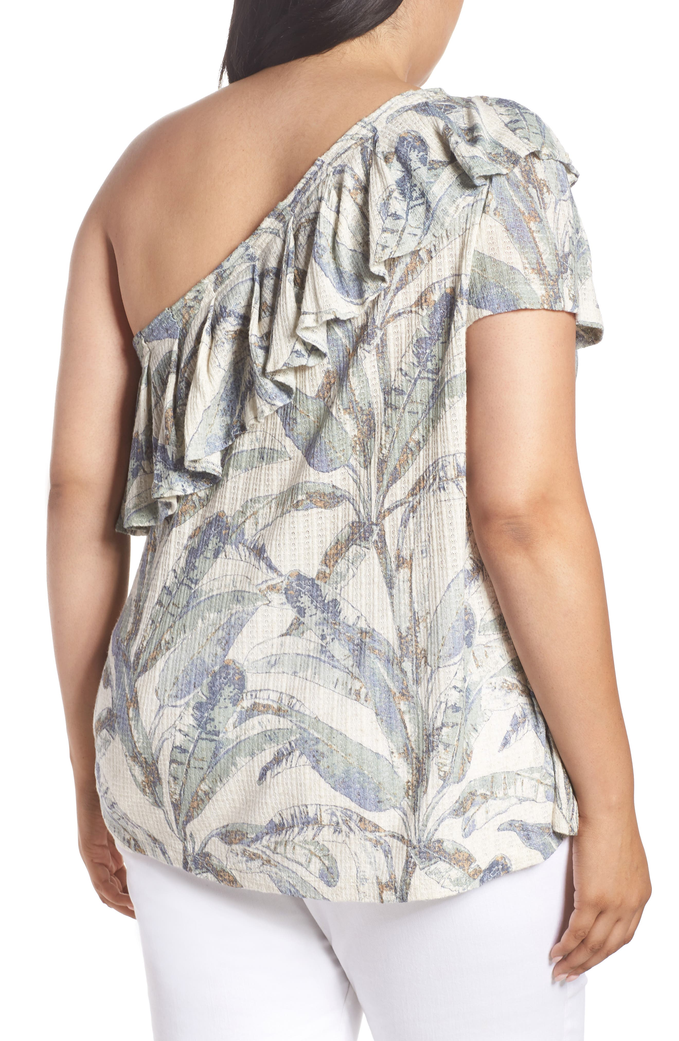 Tropical One-Shoulder Top,                             Alternate thumbnail 2, color,                             Natural Multi Mystery Island
