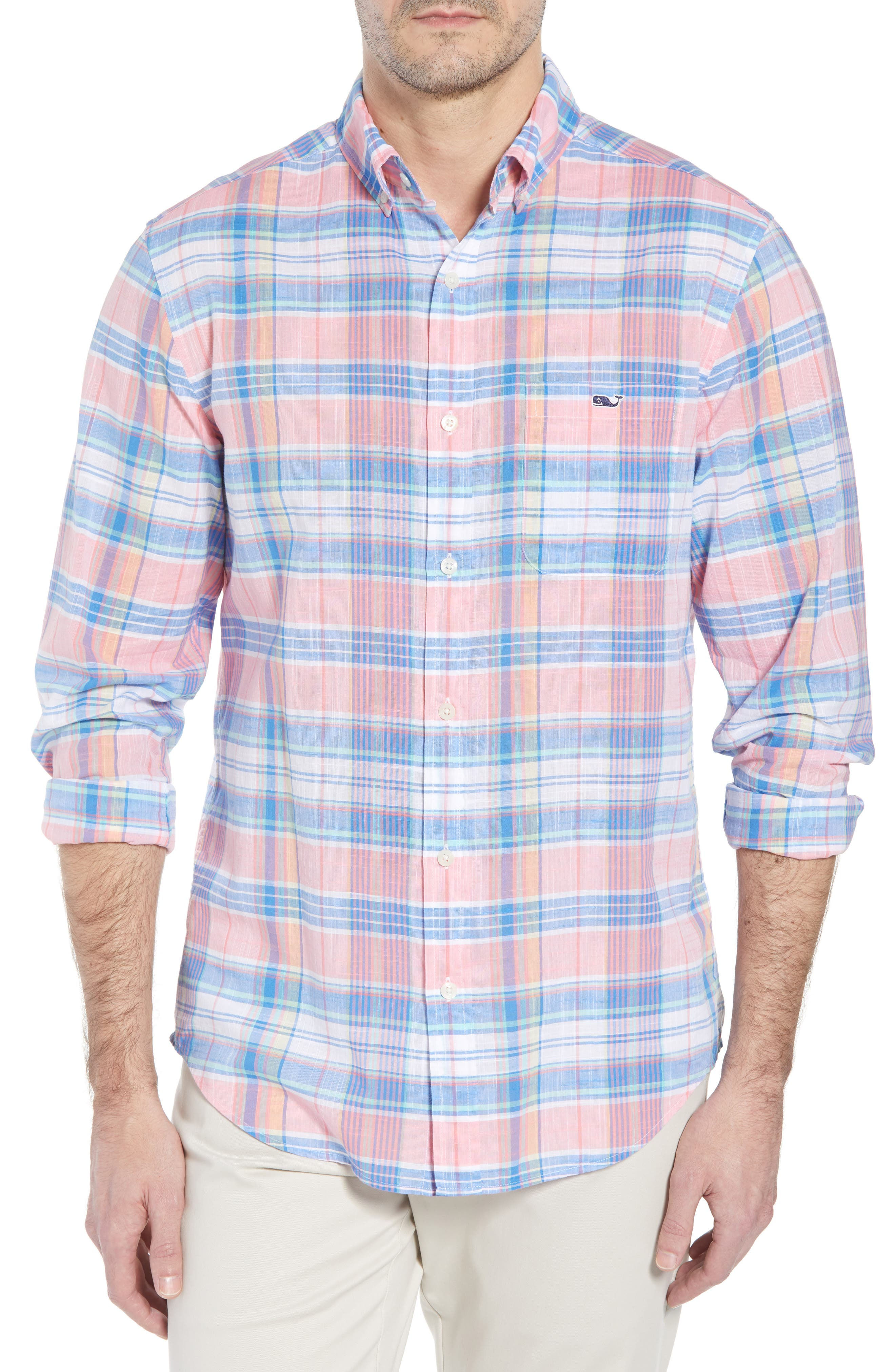 Smith Point Tucker Classic Fit Plaid Sport Shirt,                         Main,                         color, Washed Neon Pink