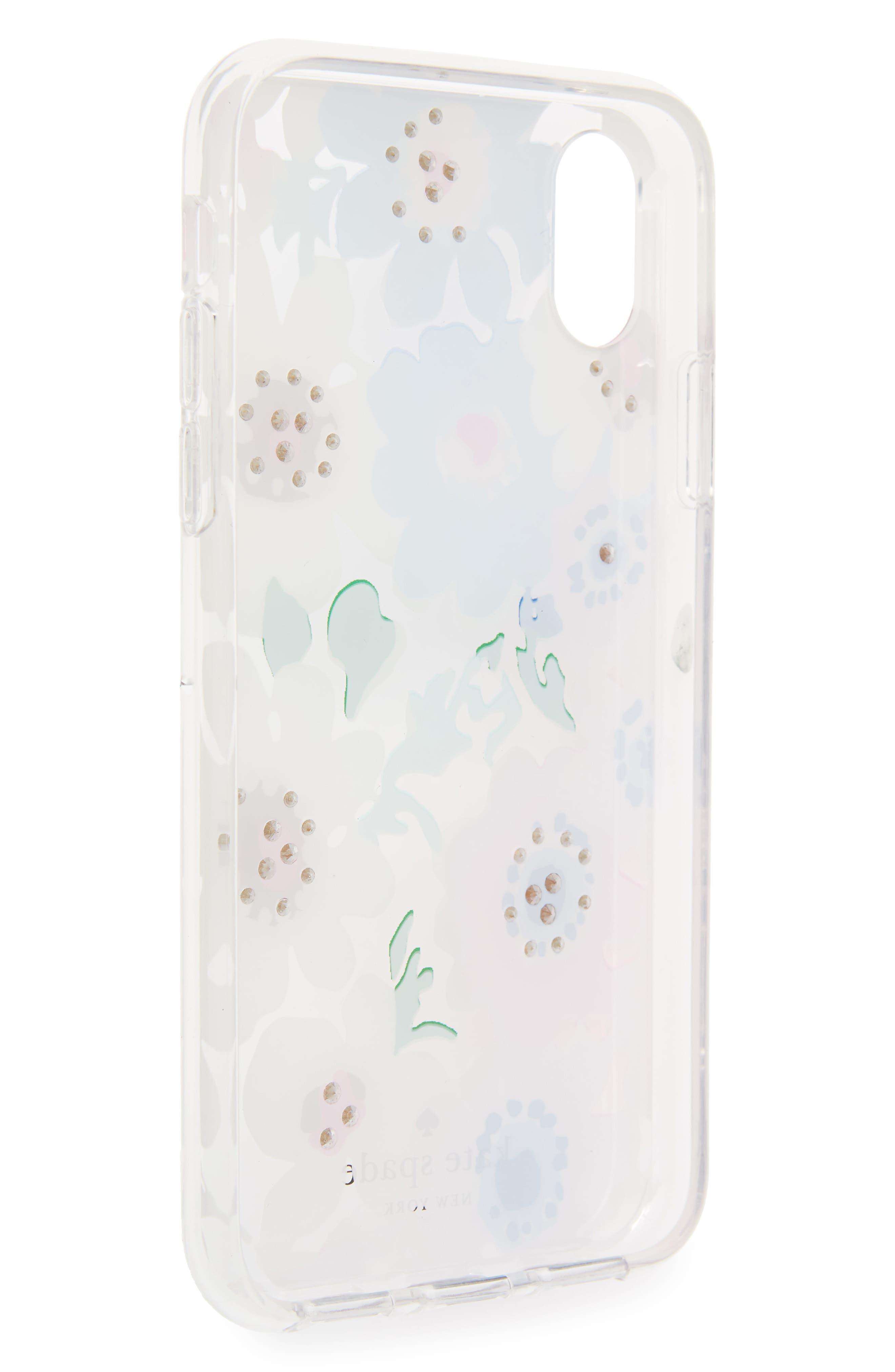 jewel daisy garden iPhone X case,                             Alternate thumbnail 2, color,                             Clear Multi