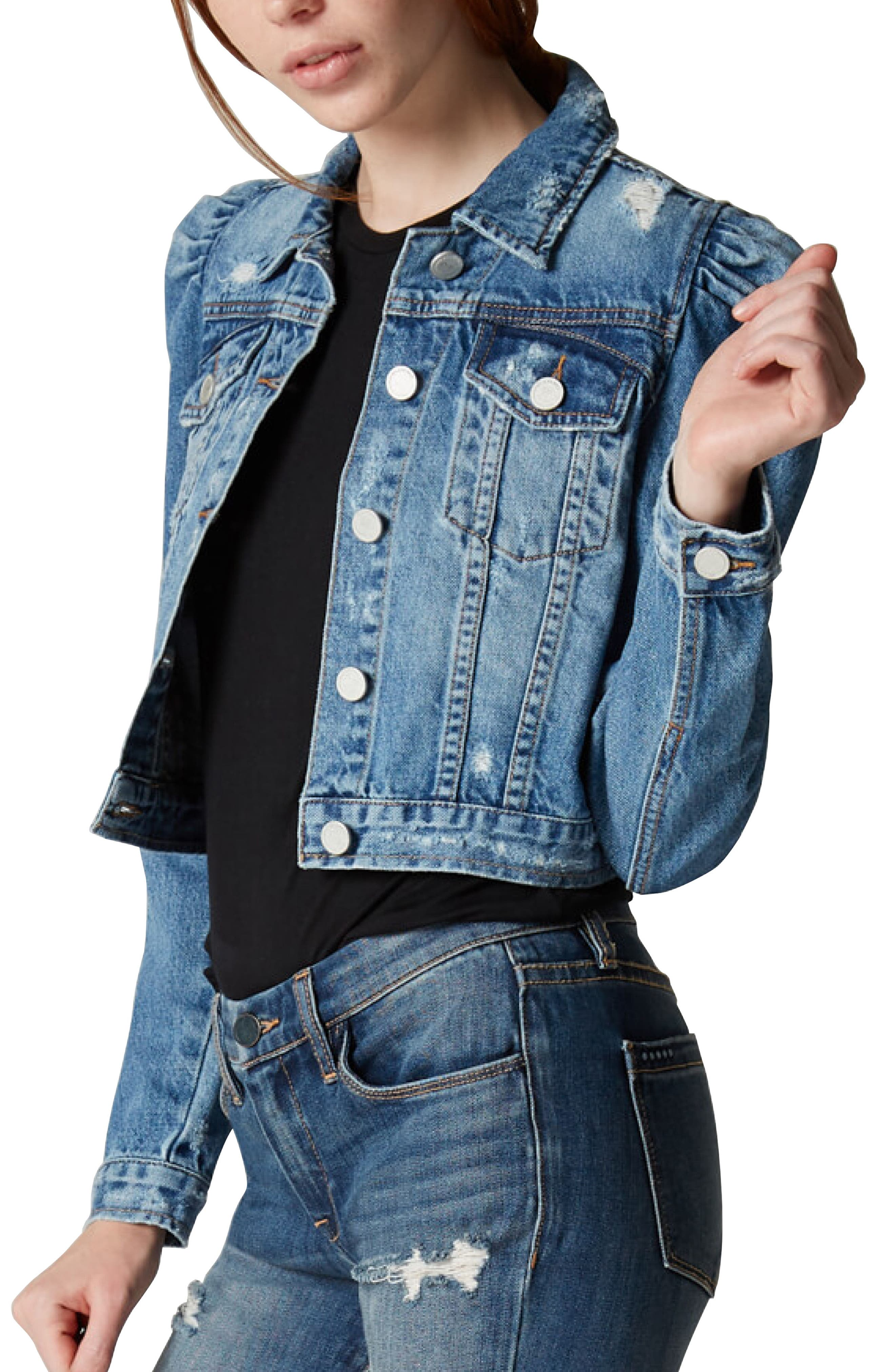 BLANKNYC Crop Puff Shoulder Denim Jacket