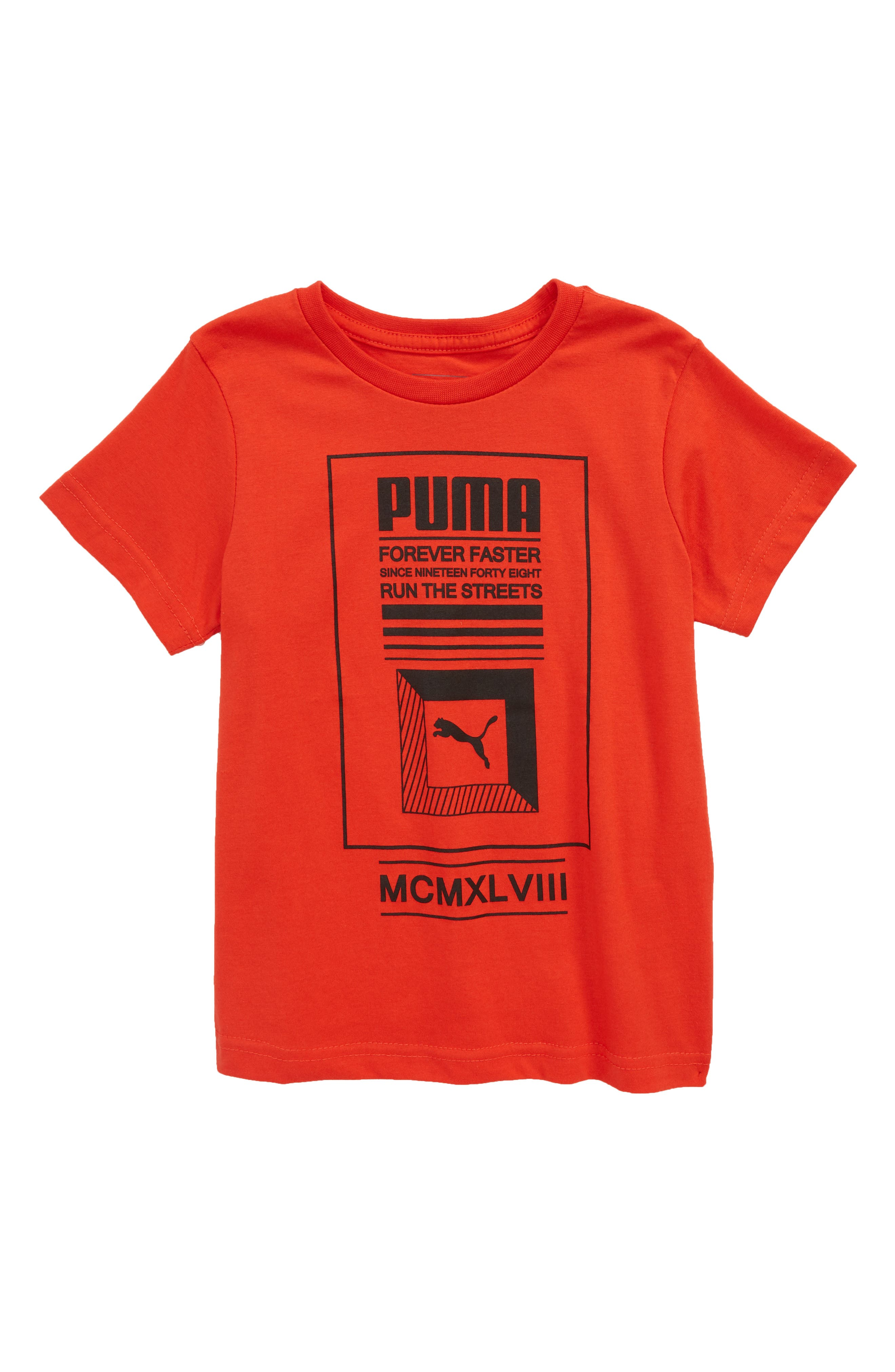 Forever Faster Screenprint T-Shirt,                             Main thumbnail 1, color,                             Flame Scarlet