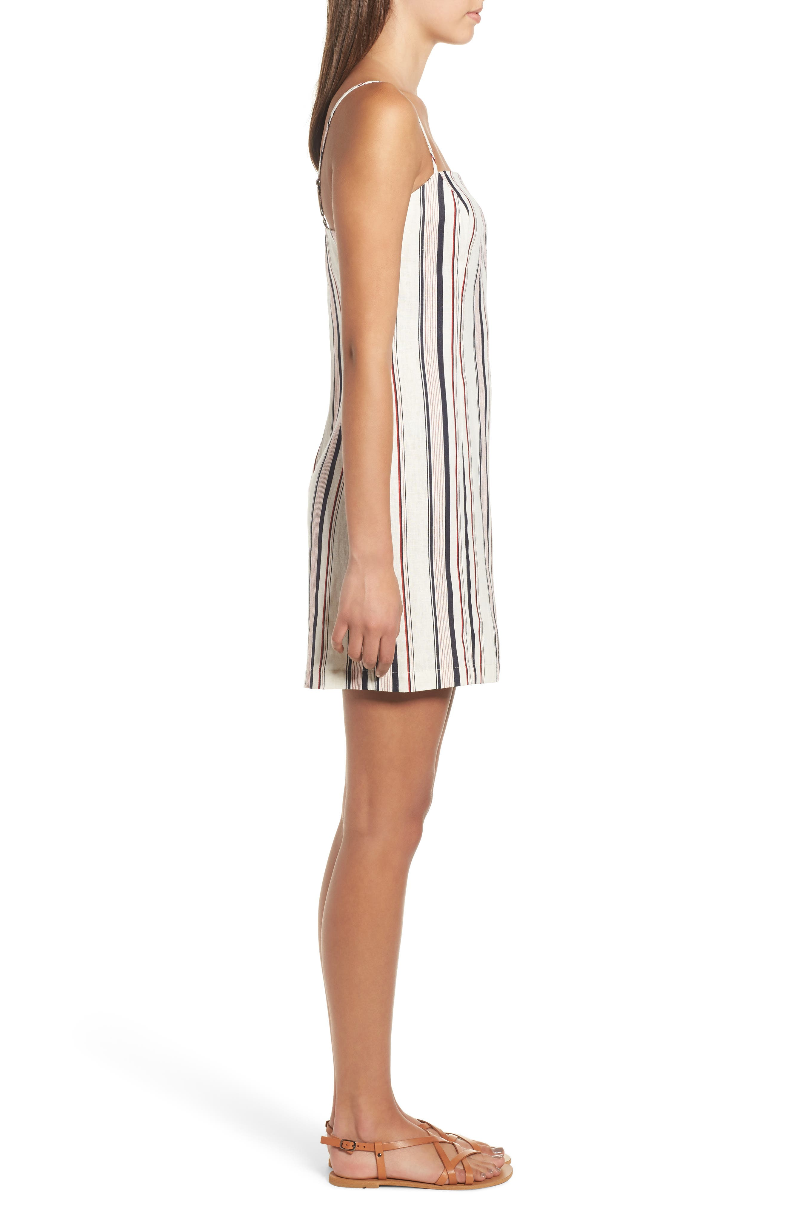 Striped Shift Dress,                             Alternate thumbnail 6, color,                             Navy Red Stripe